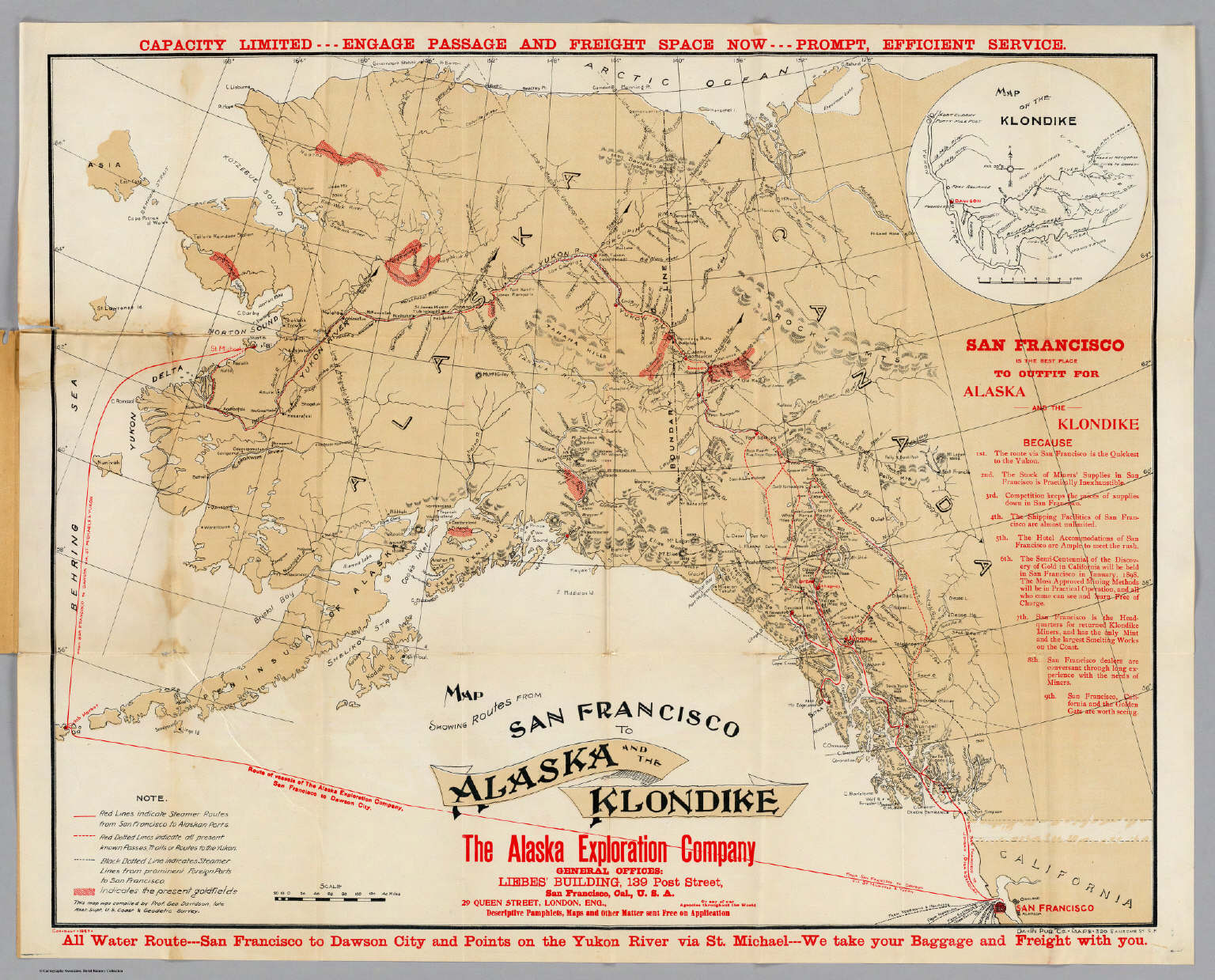 map showing routes from san francisco to alaska and the klondike alaska exploration company davidson george 1898