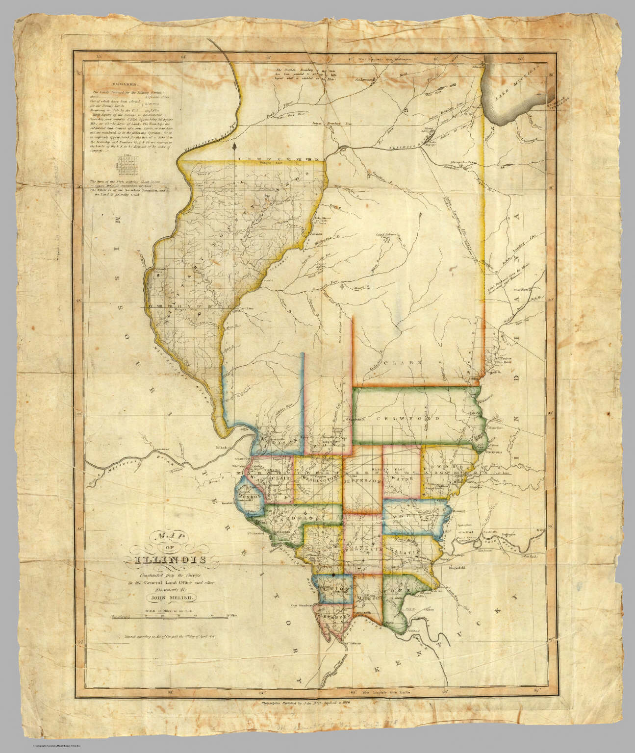 Map Of Illinois. / Melish, John / 1820