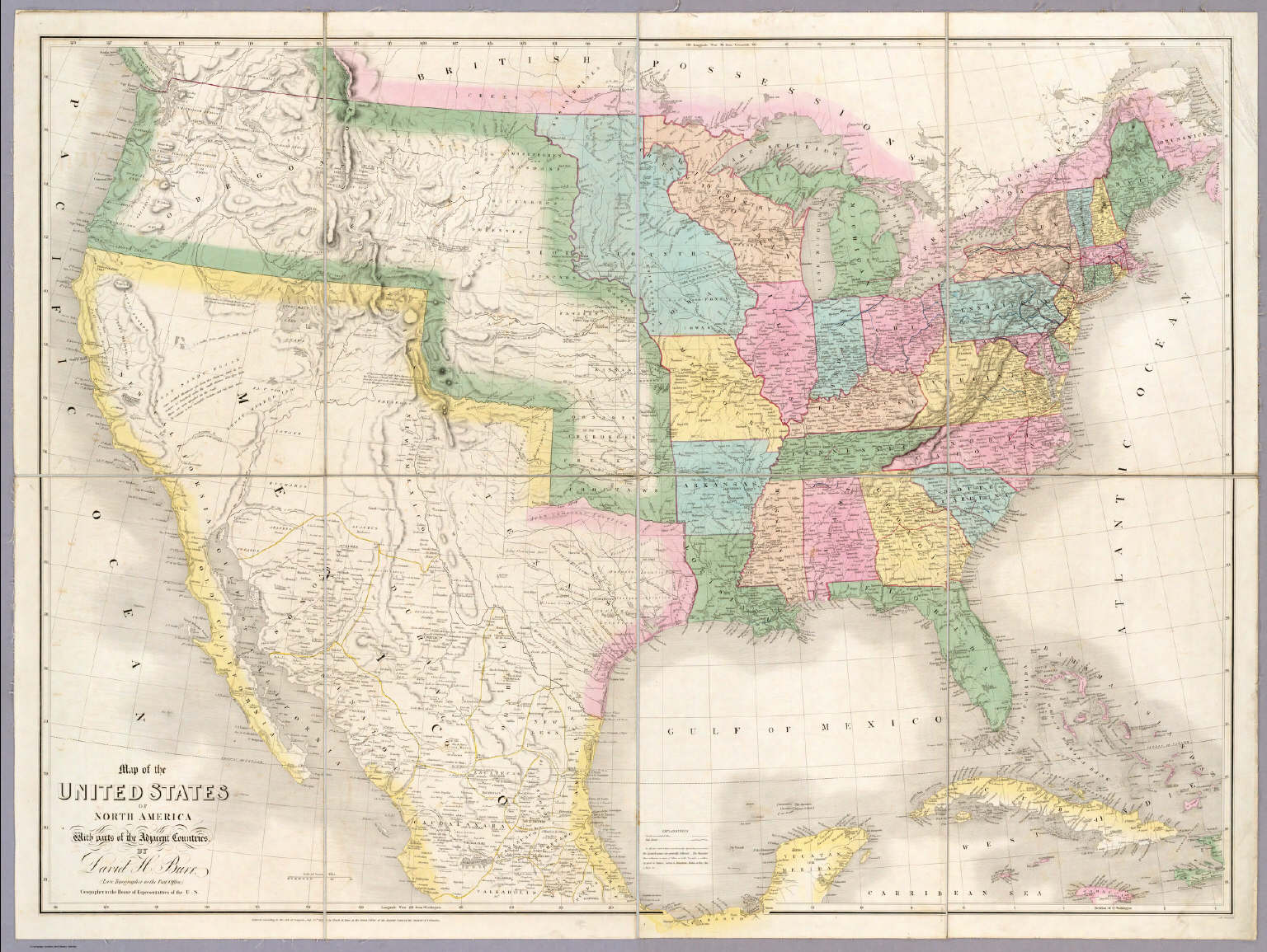 Map Of The United States Of North America Burr David H 1803 1875 1839