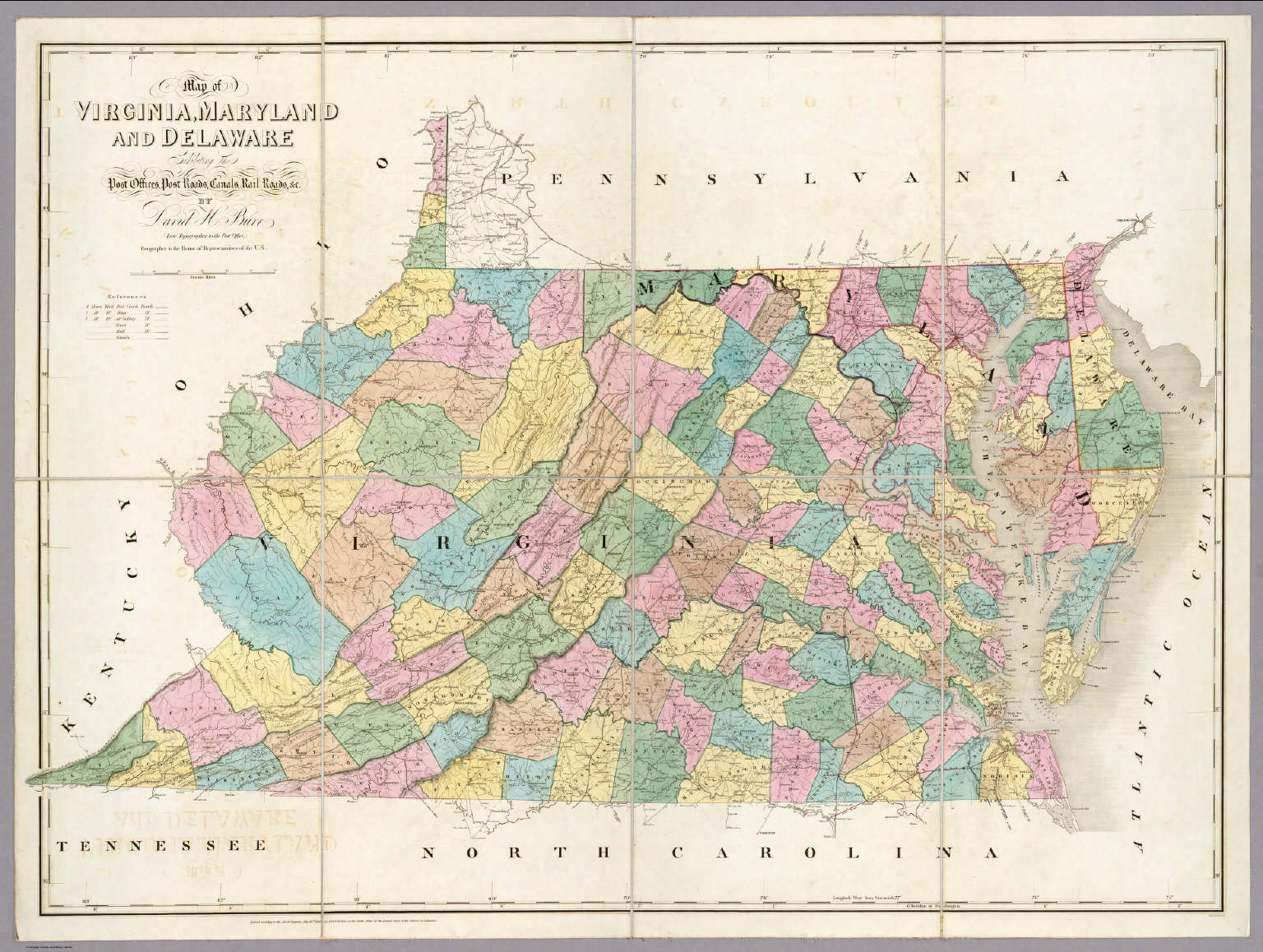 Map of Virginia, Maryland and Delaware. / Burr, David H., 1803