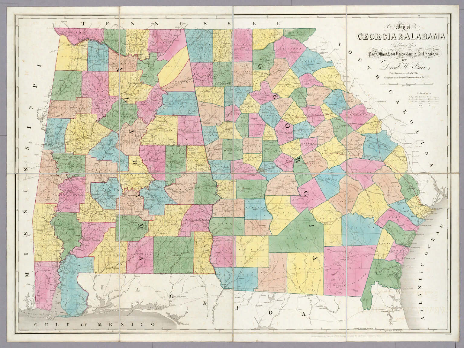 Of Georgia Alabama Burr David H - Map og georgia