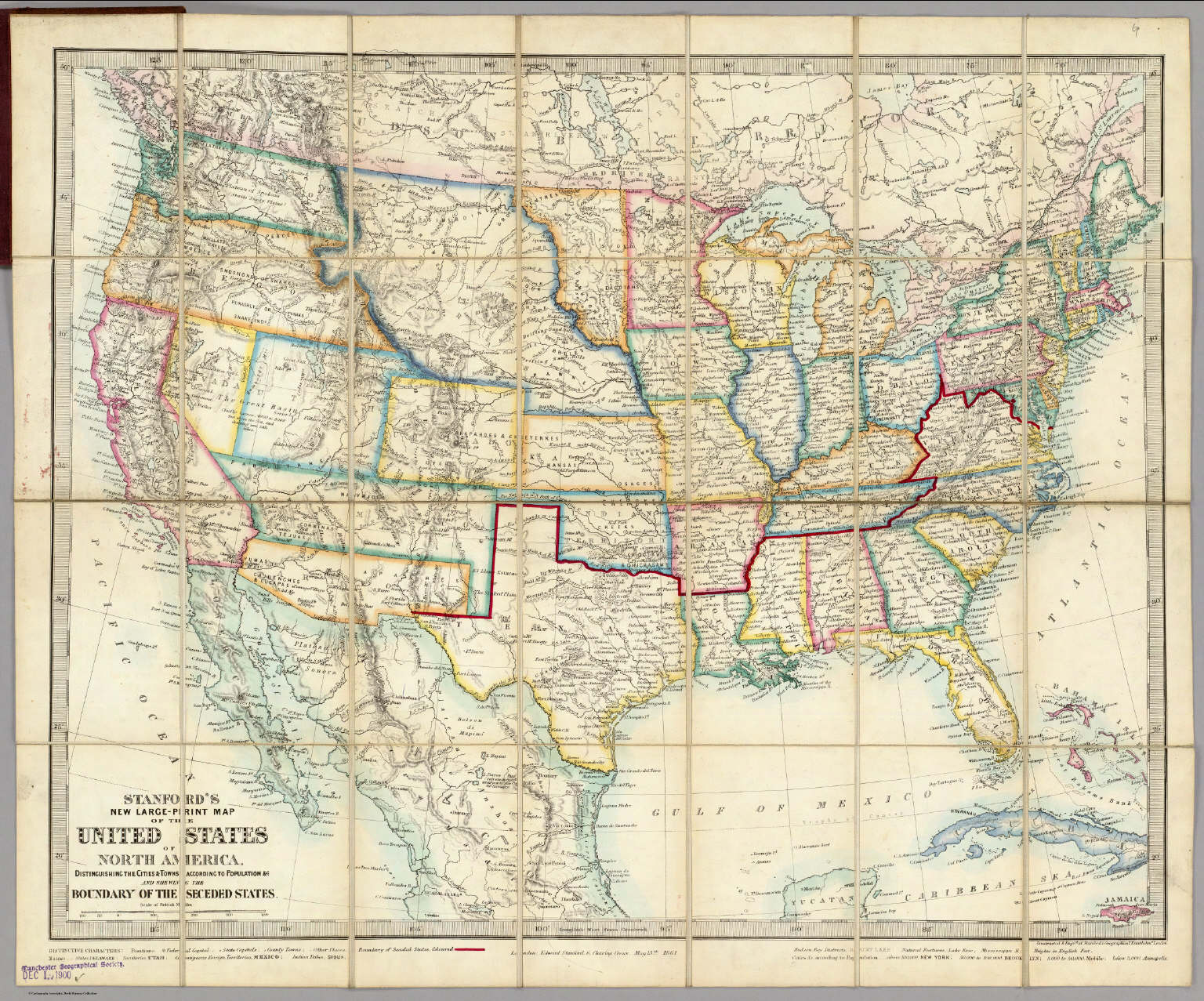 United States Of North America David Rumsey Historical Map - Map of us 1861