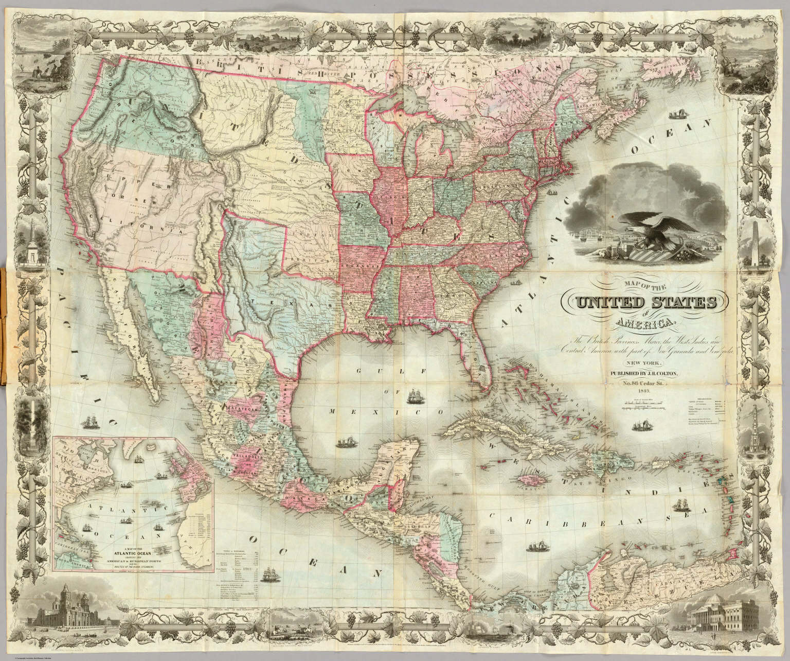 Map of the United States of America. / Colton, J.H. / 1849 United States Map on u.s. railroad map 1849, california map 1849, mexico map 1849, wisconsin map 1849, arizona map 1849, boston map 1849, texas map 1849, world map 1849, greece map 1849, nevada map 1849, europe map 1849,