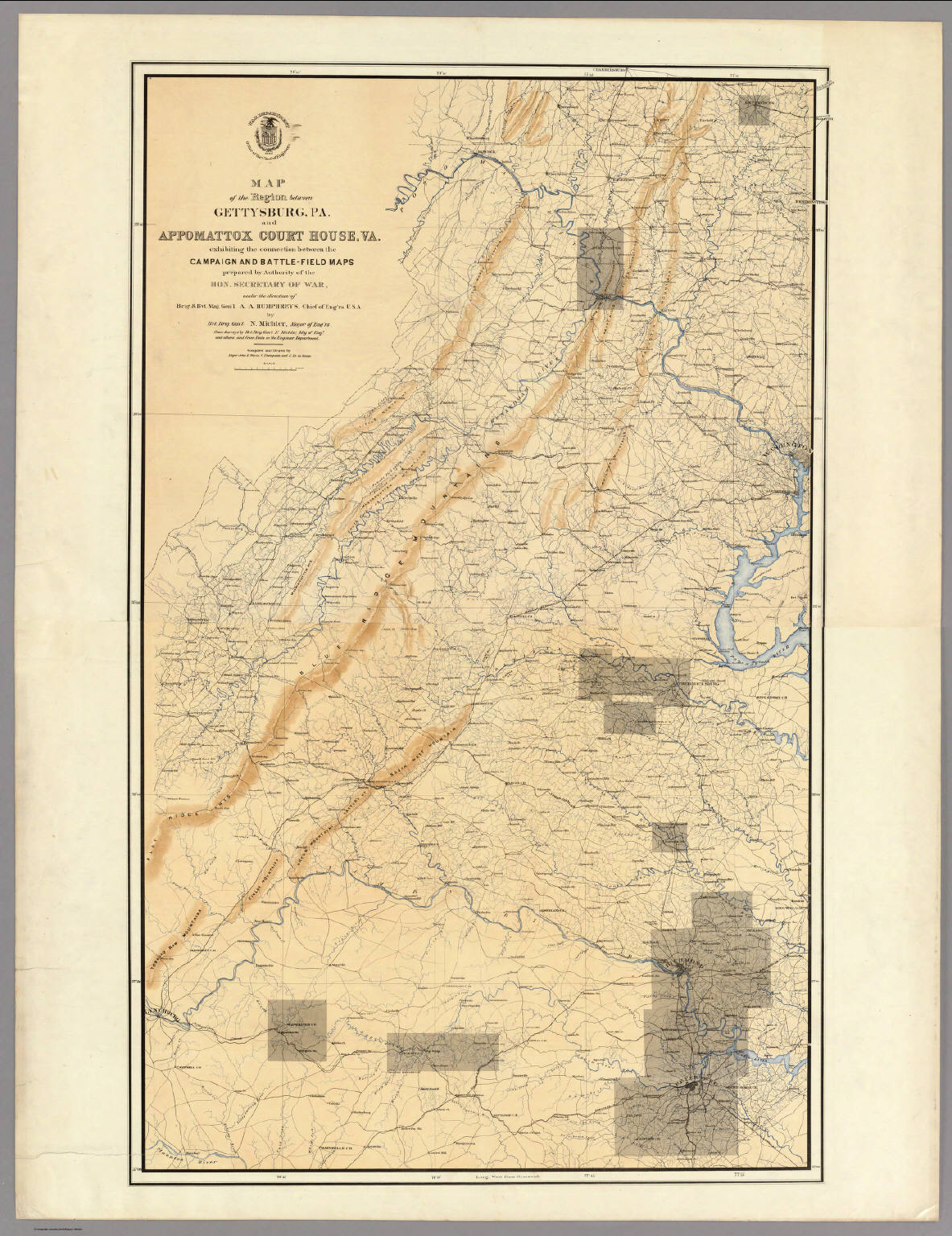 Map Of The Region Between Gettysburg Pa And Appomattox Court - Gettysburg on us map