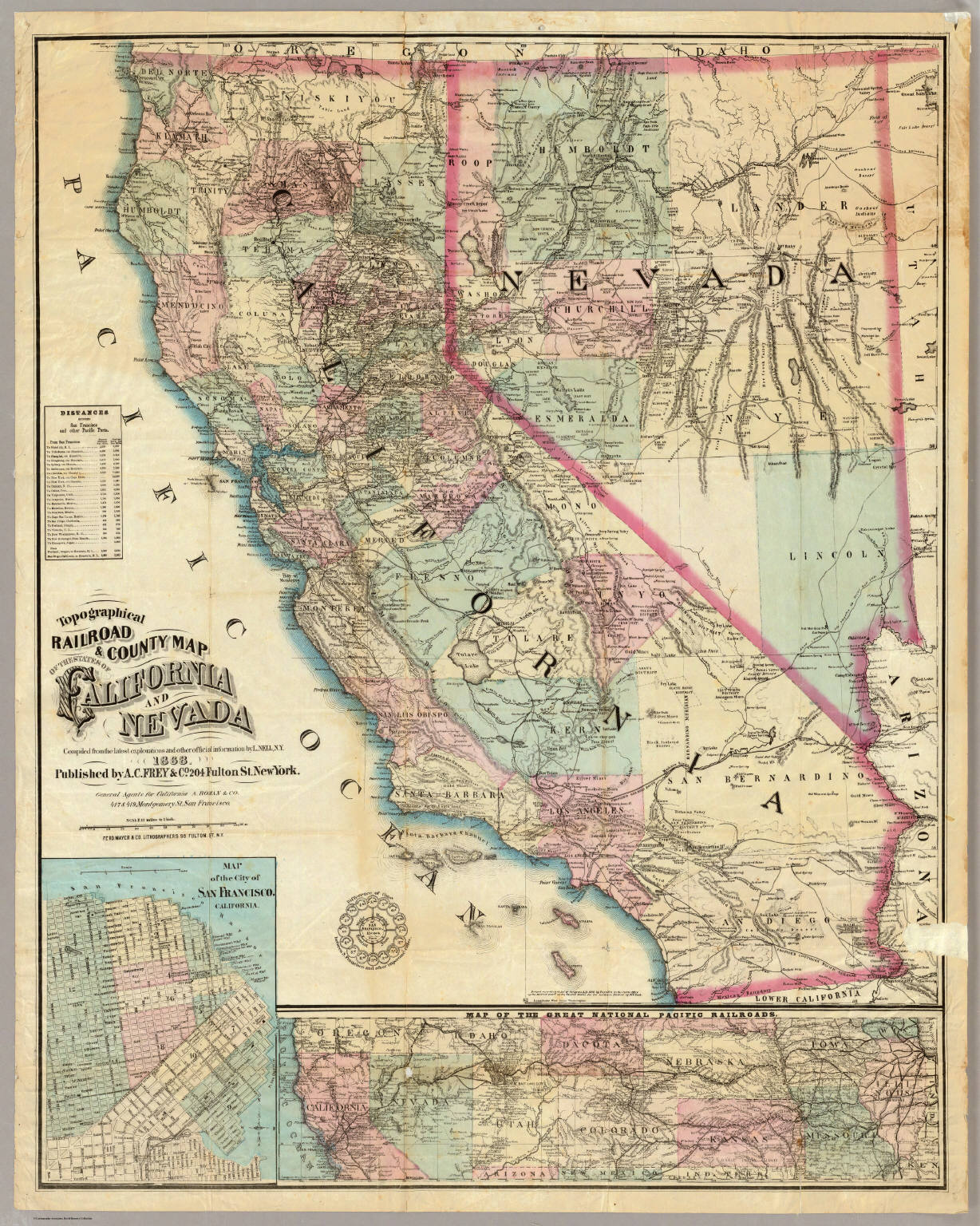 Railroad County Map Of The States Of California And Nevada