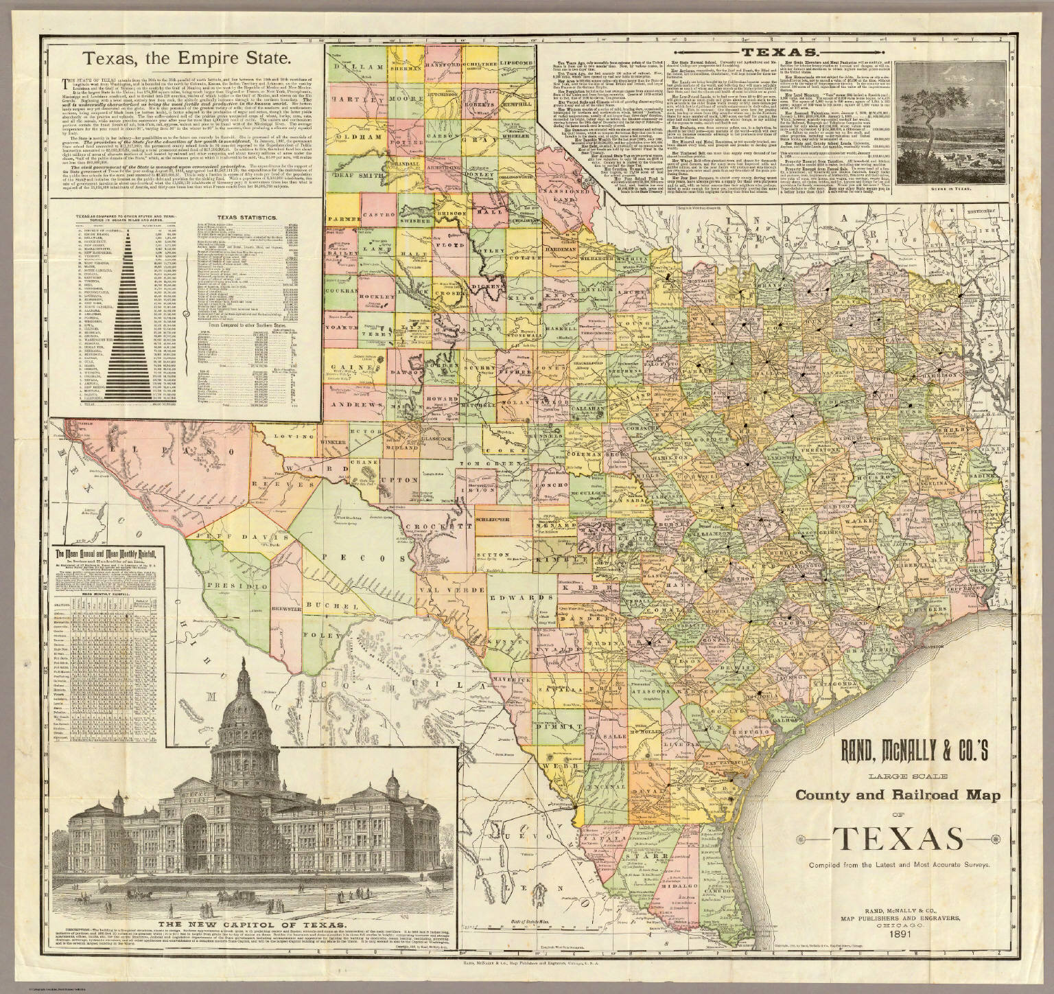 Railroad Map Of Texas.Large Scale County And Railroad Map Of Texas Rand Mcnally And