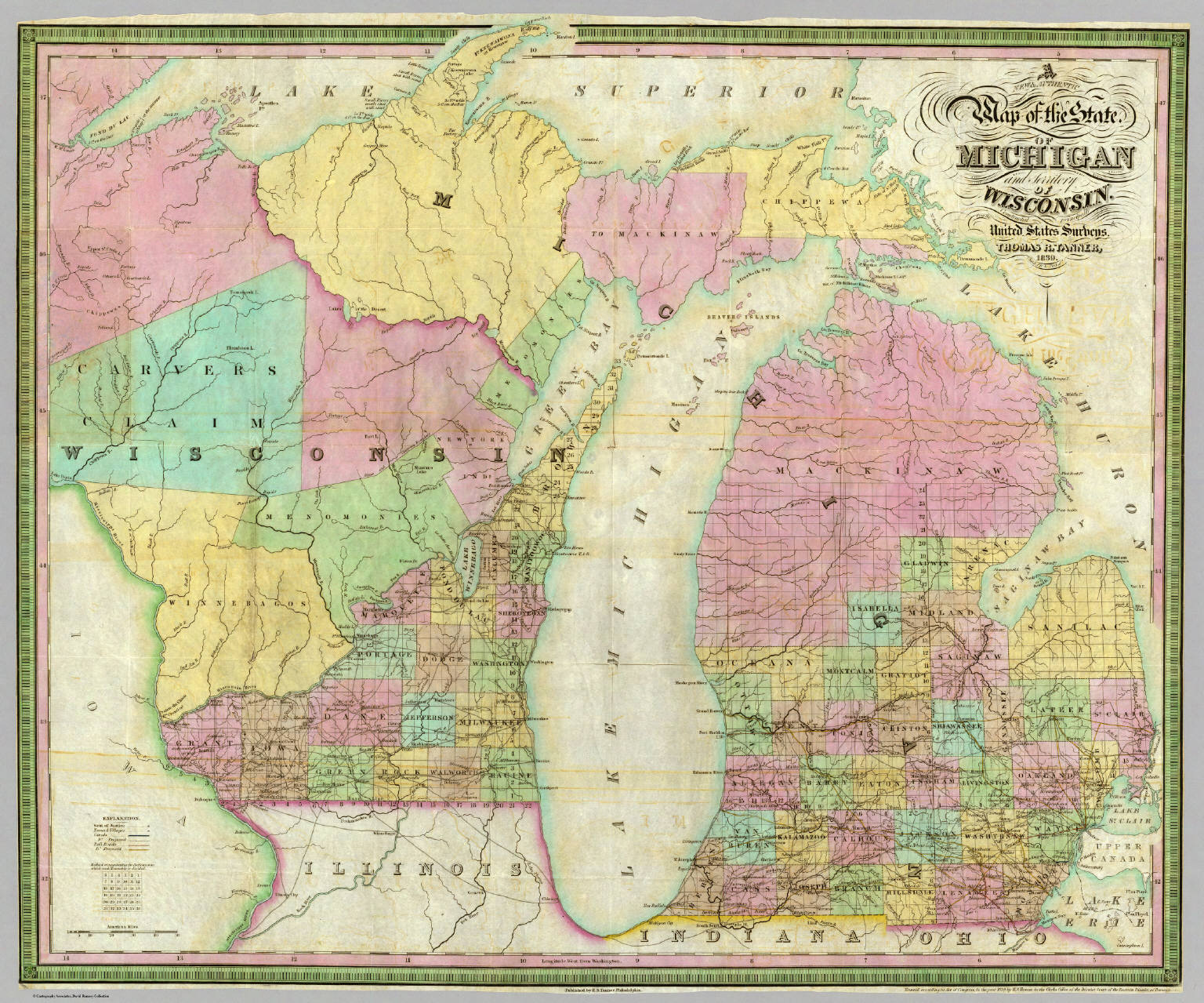 Michigan And Wisconsin Map.Map Of The State Of Michigan And Territory Of Wisconsin Tanner