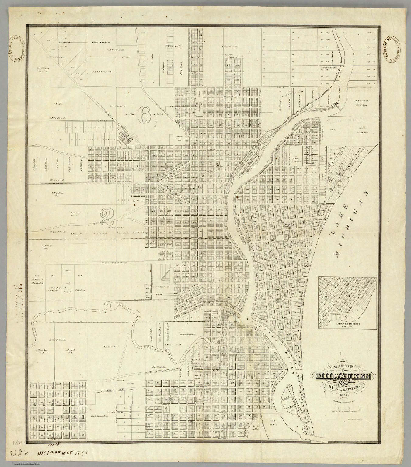 Map Of Milwaukee. / Lapham, I.A. / 1856