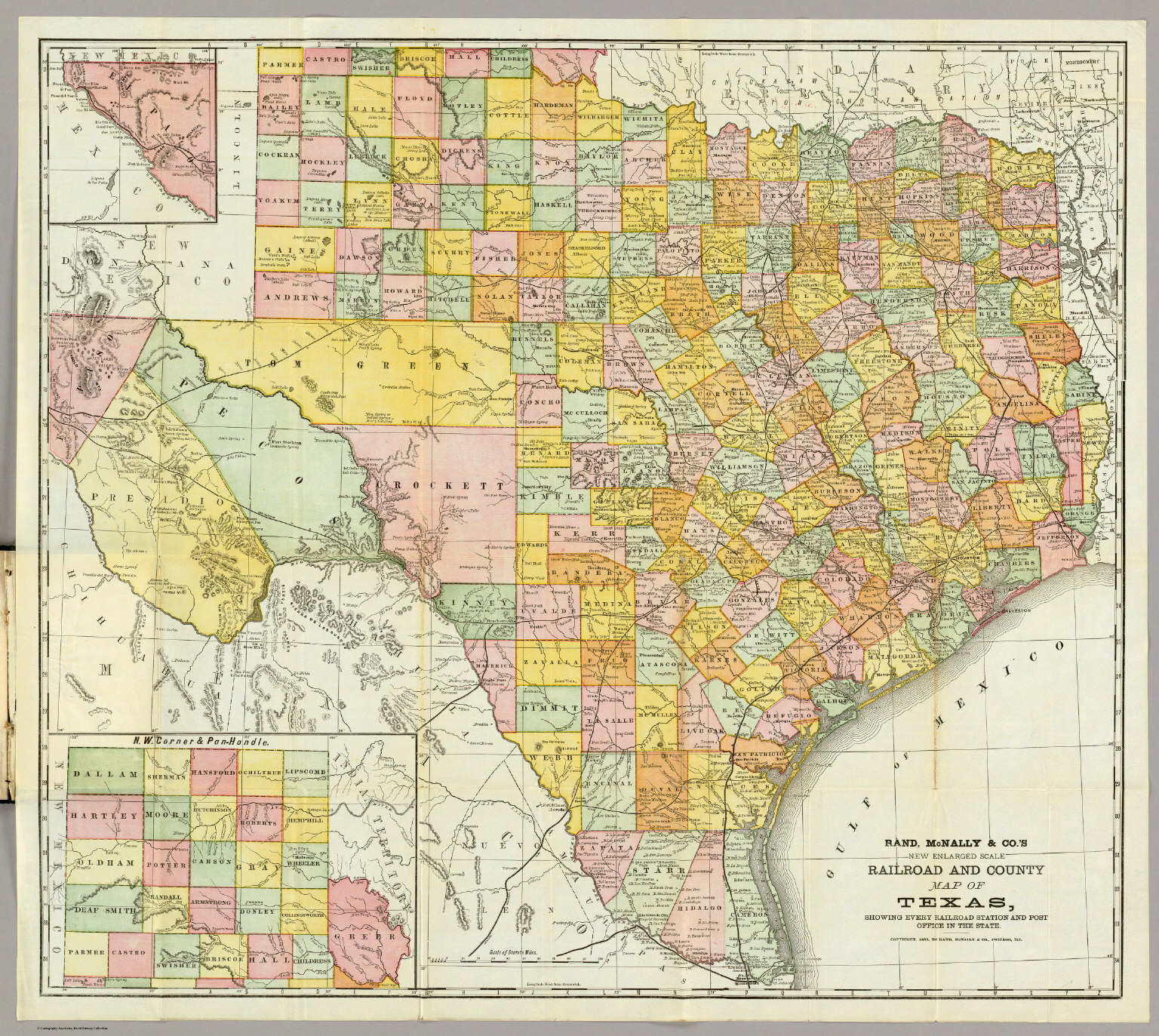 McNally Railroad And County Map Of Texas Rand McNally And - Texas county map