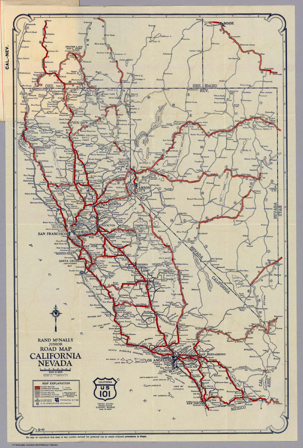 Rand McNally Junior Road Map California And Nevada David Rumsey - Ca road map