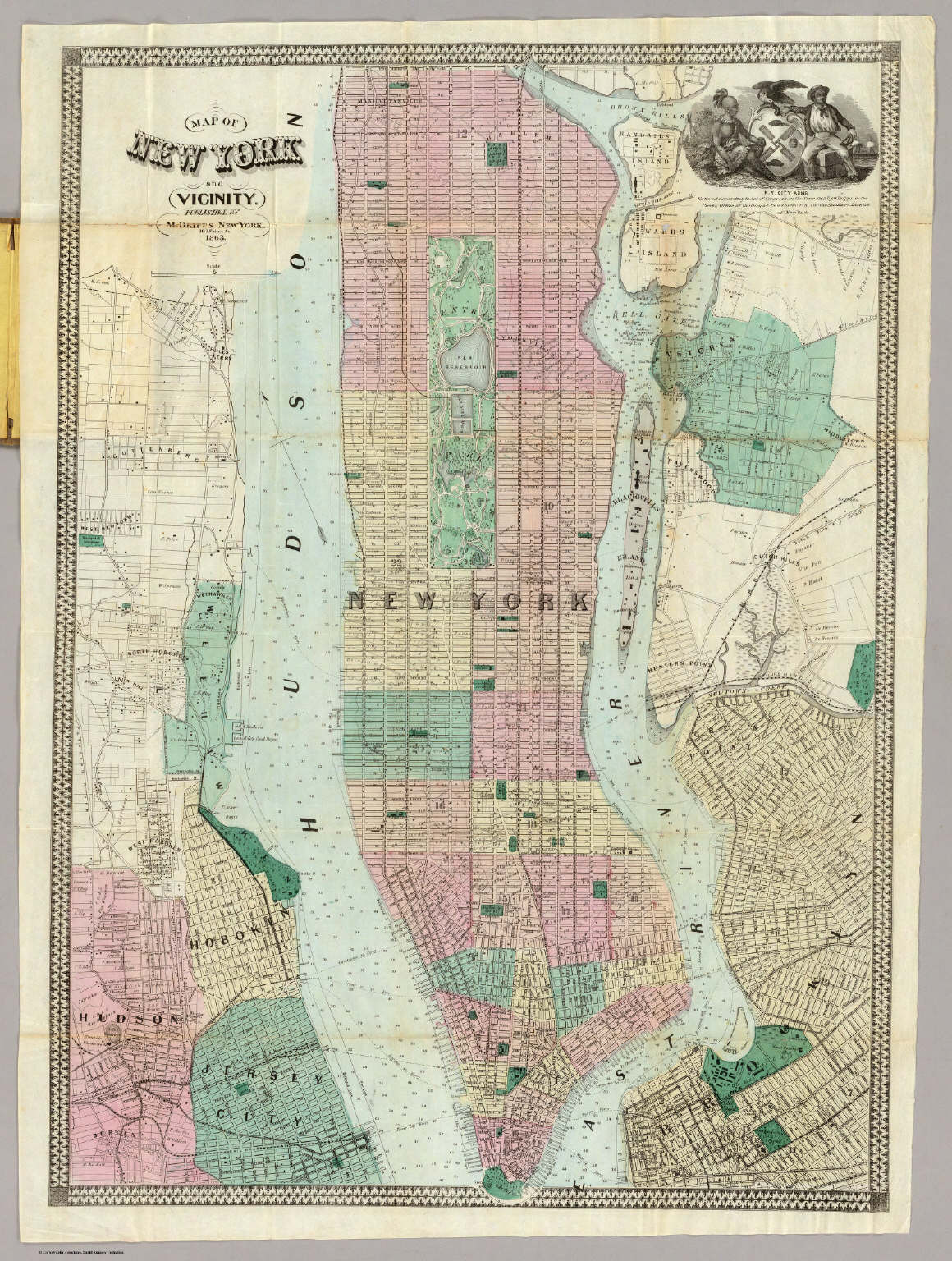 map of new york and vicinity dripps matthew 1863