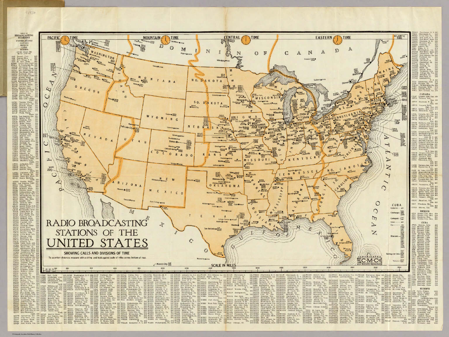 Radio Broadcasting Stations Of The United States Clason Map - Us-map-1930