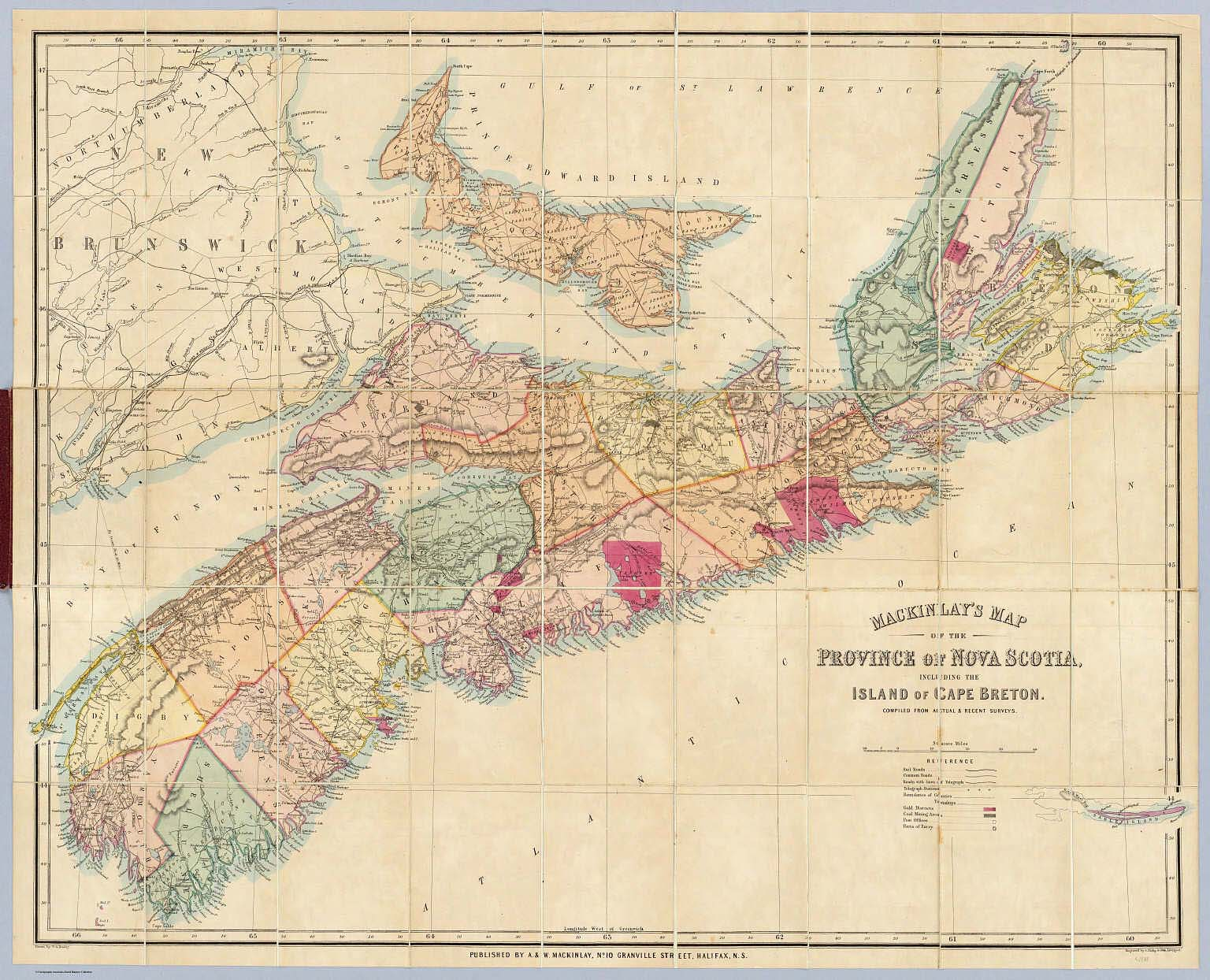 Mackinlay's map of the Province of Nova Scotia, including ... on nova scotia map, bay of fundy map, dallas island map, cayo costa island map, labrador island map, devon island map, pleasant bay map, st. paul island map, baffin island map, laurentian mountains map, st. catharines map, canada map, atlantic provinces map, ottawa island map, aurora island map, gloucester island map, cabot trail map, snake island map, peggy's cove map, island nautical map,