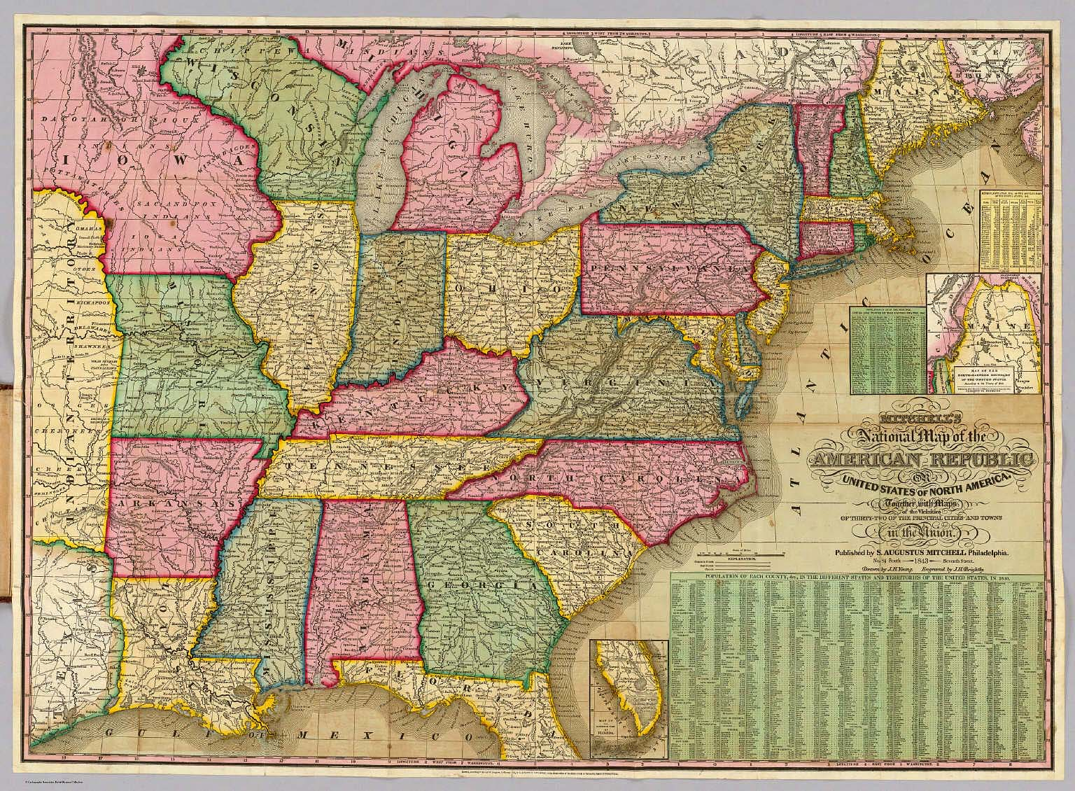 Map With Major Us Cities Mitchell U0027s National Map Of The American Republic David Rumsey
