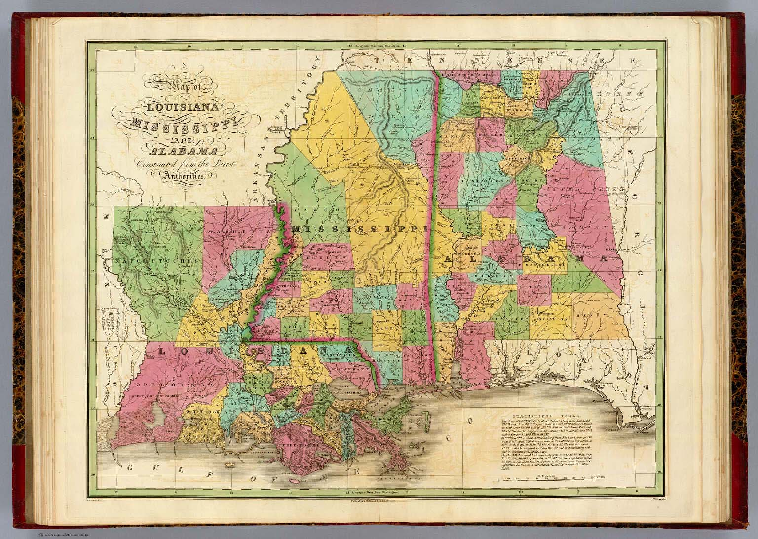 Map of Louisiana Mississippi And Alabama. / Finley, Anthony ...