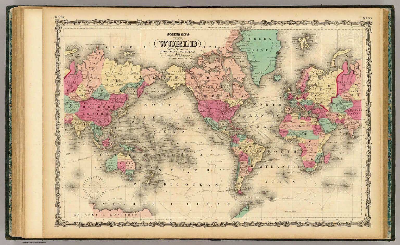 Map of the world on mercators projection johnson aj 1860 gumiabroncs Image collections