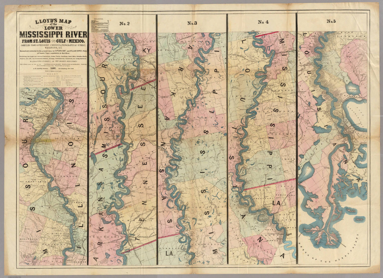 Lloyds Map Of The Lower Mississippi River From St Louis To The - Map to mississippi
