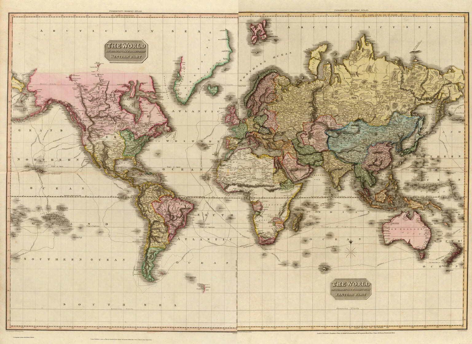 The World On Mercators Projection Pinkerton John - Authentic world map