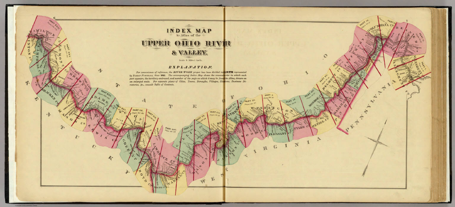 Map To Atlas Of The Upper Ohio River Valley Hayes Eli L - Ohio river map