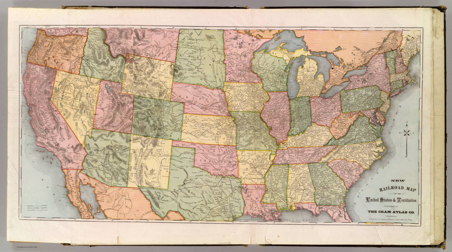 new railroad map of the united states territories cram atlas company 1875