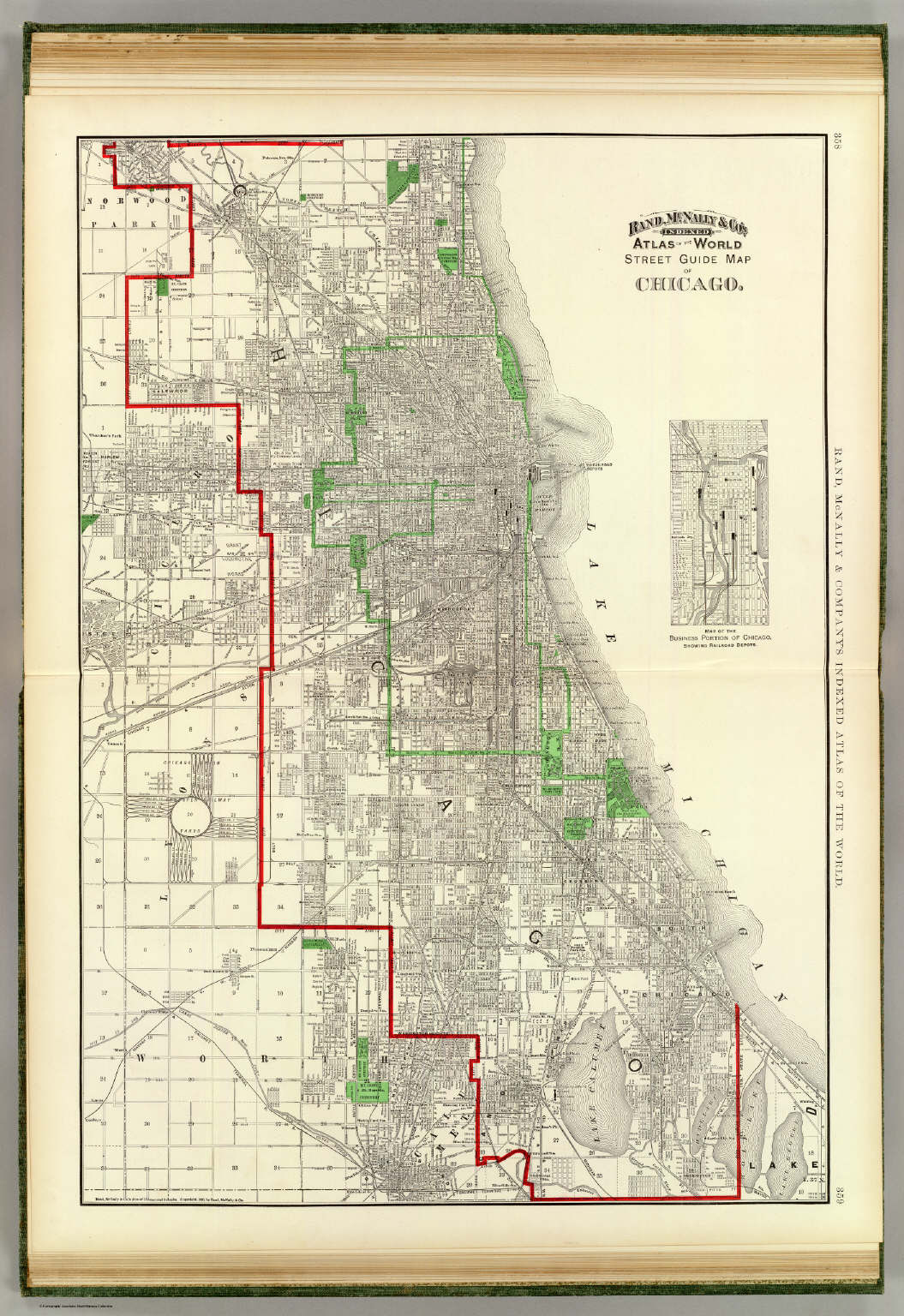 Chicago Map 1890 Chicago. / Rand McNally and Company / 1897