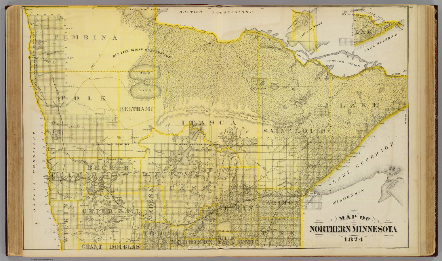Map Of Northern Minnesota 1874 Andreas A T Alfred Theodore