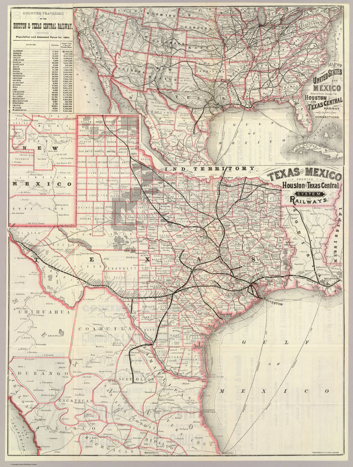 Texas And Mexico Houston And Texas Central Railways David - Map of central texas