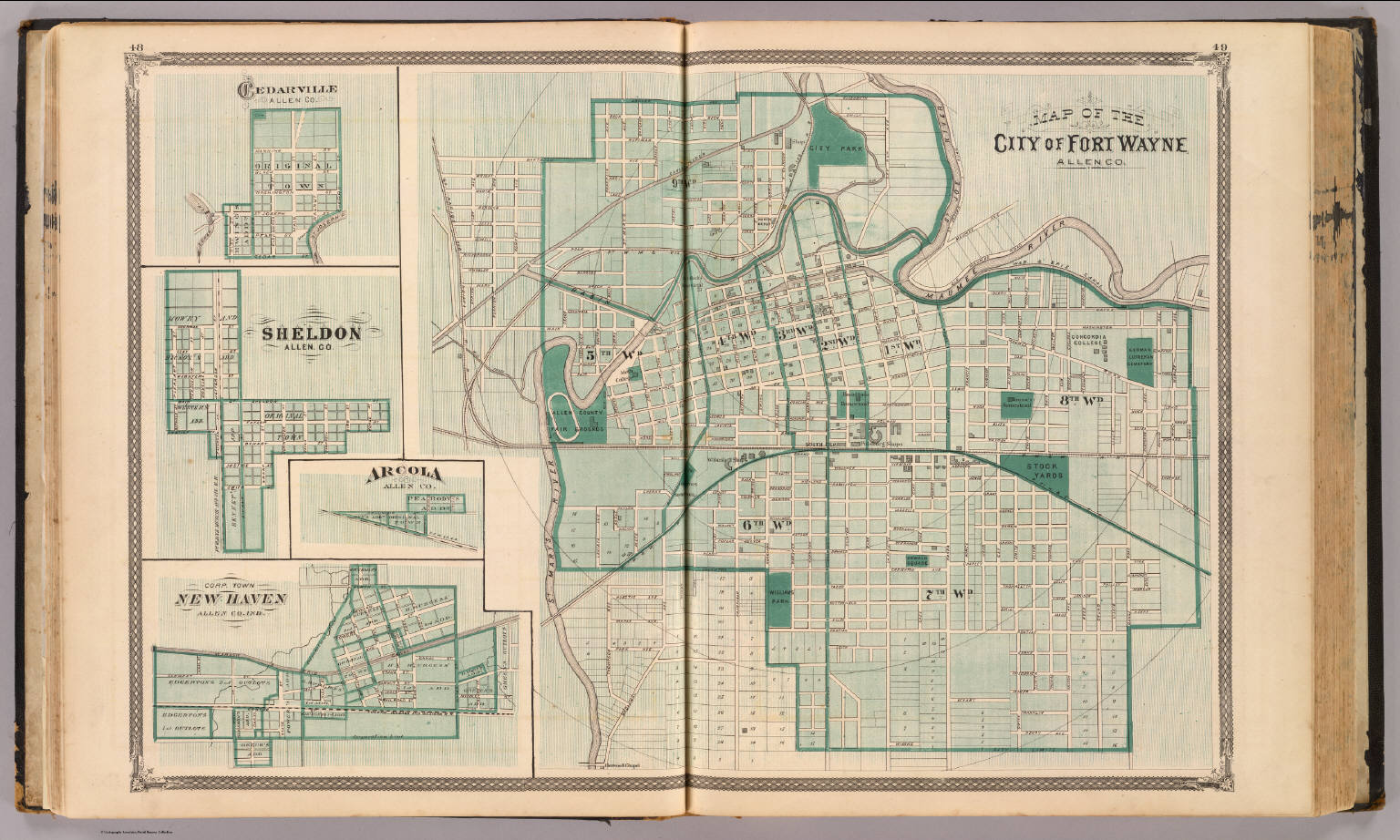 Map Of The City Of Fort Wayne With Cedarville Sheldon Arcola