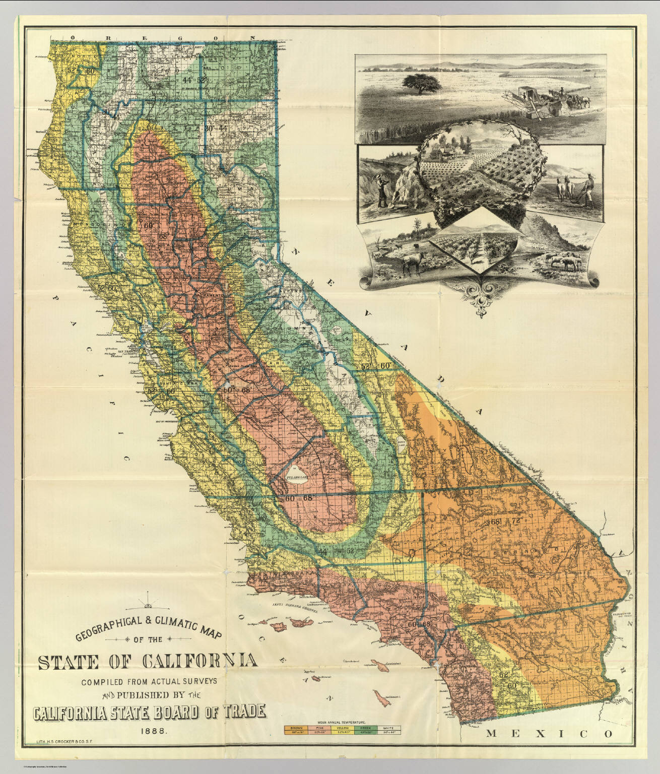 Geographical climatic map California David Rumsey Historical