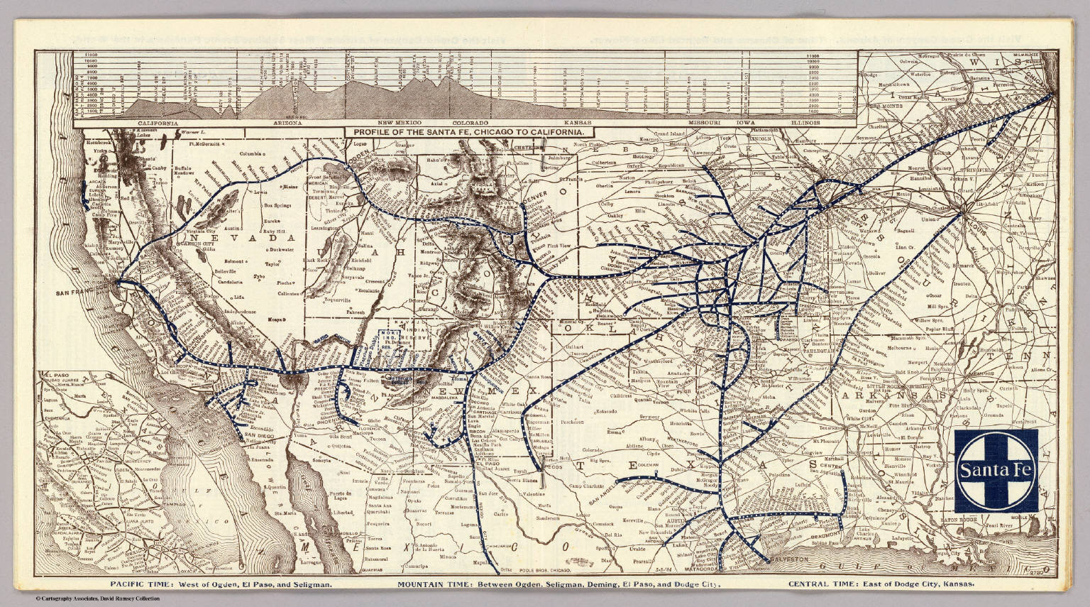 Santa Fe David Rumsey Historical Map Collection - Atchinson topeka and santa ferailroad on the us map