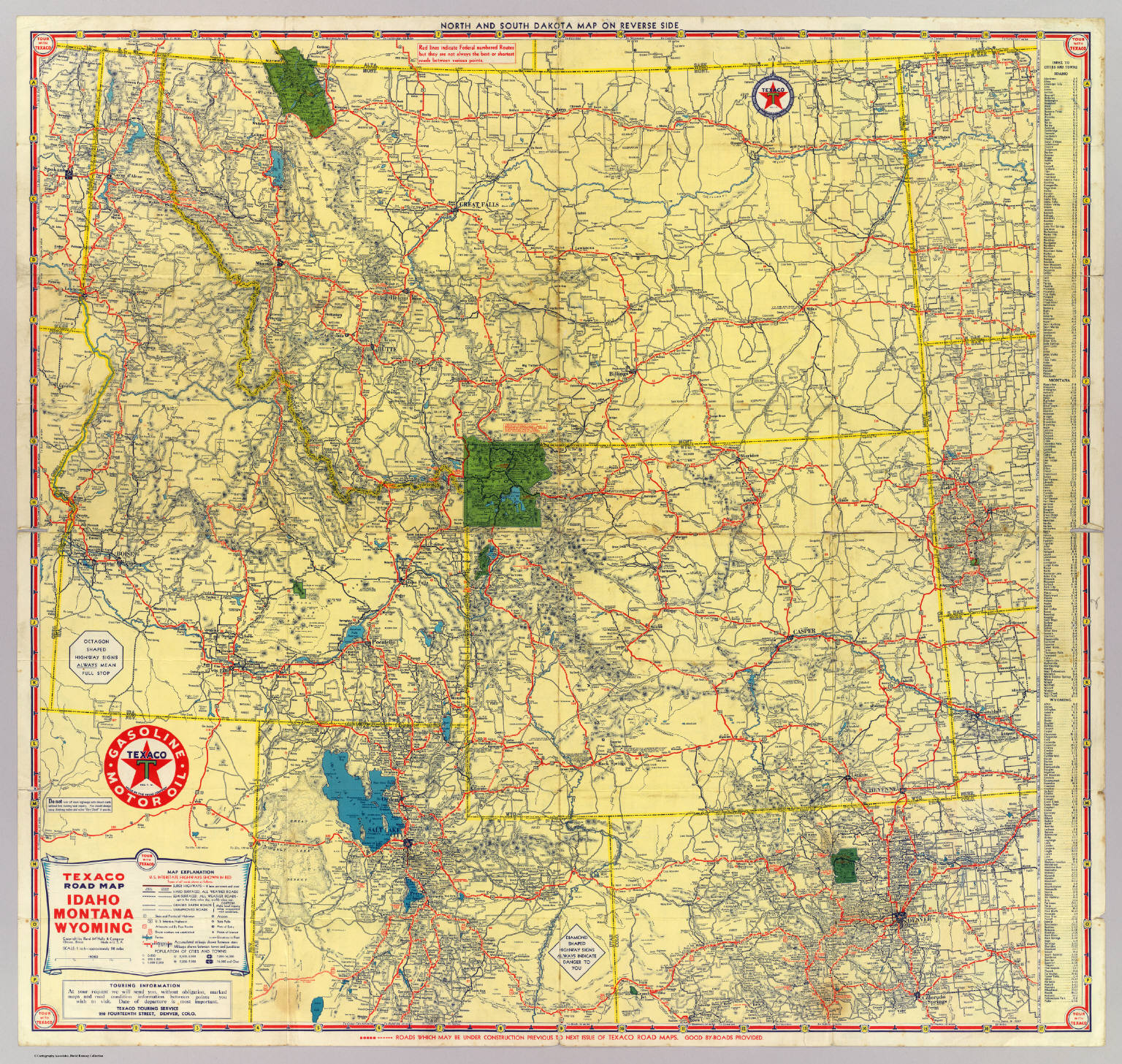 Road Map Idaho Mont Wyo David Rumsey Historical Map Collection - Map of northern wyoming