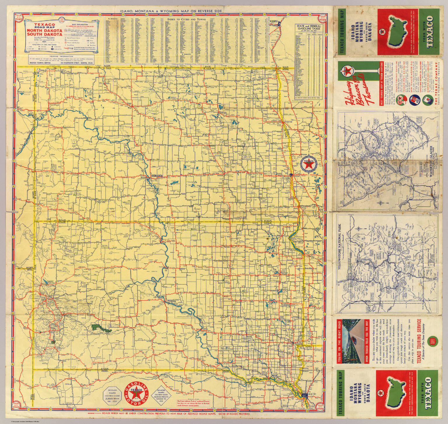 Road Map N S Dakota David Rumsey Historical Map Collection - Maps of north dakota