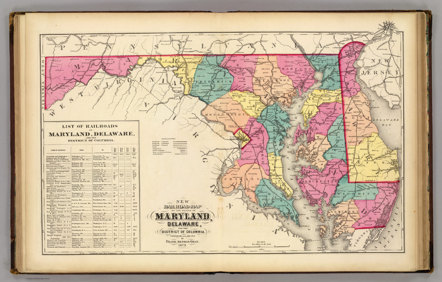 New railroad map of the states of Maryland, Delaware, & District of ...