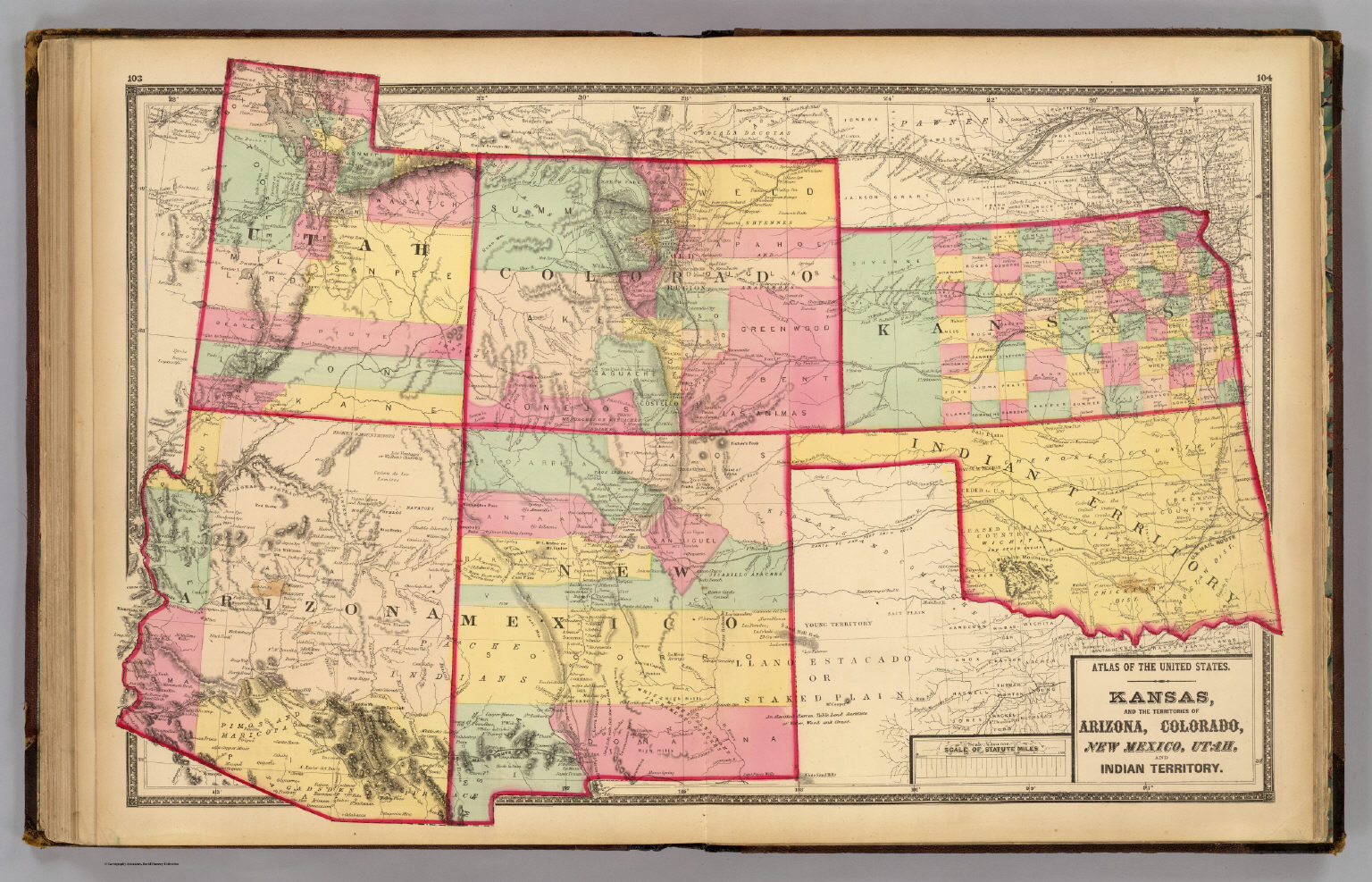 Kansas And Arizona Colorado New Mexico Utah And Indian - Us map of indian territories