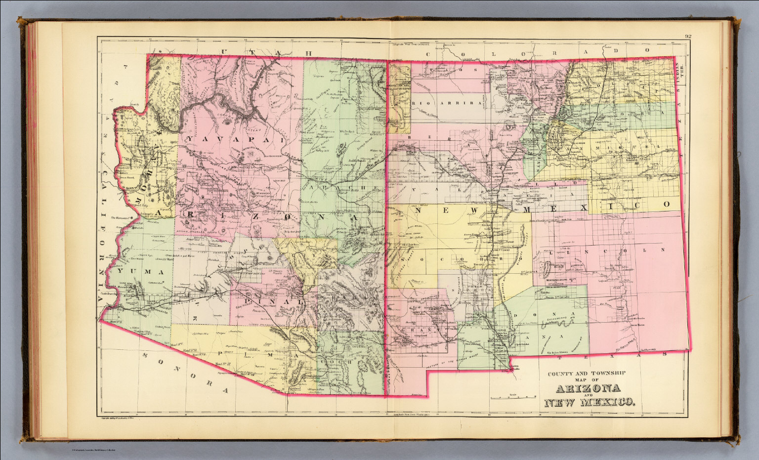 New Mexico Mitchell Samuel Augustus - Map of arizona and new mexico