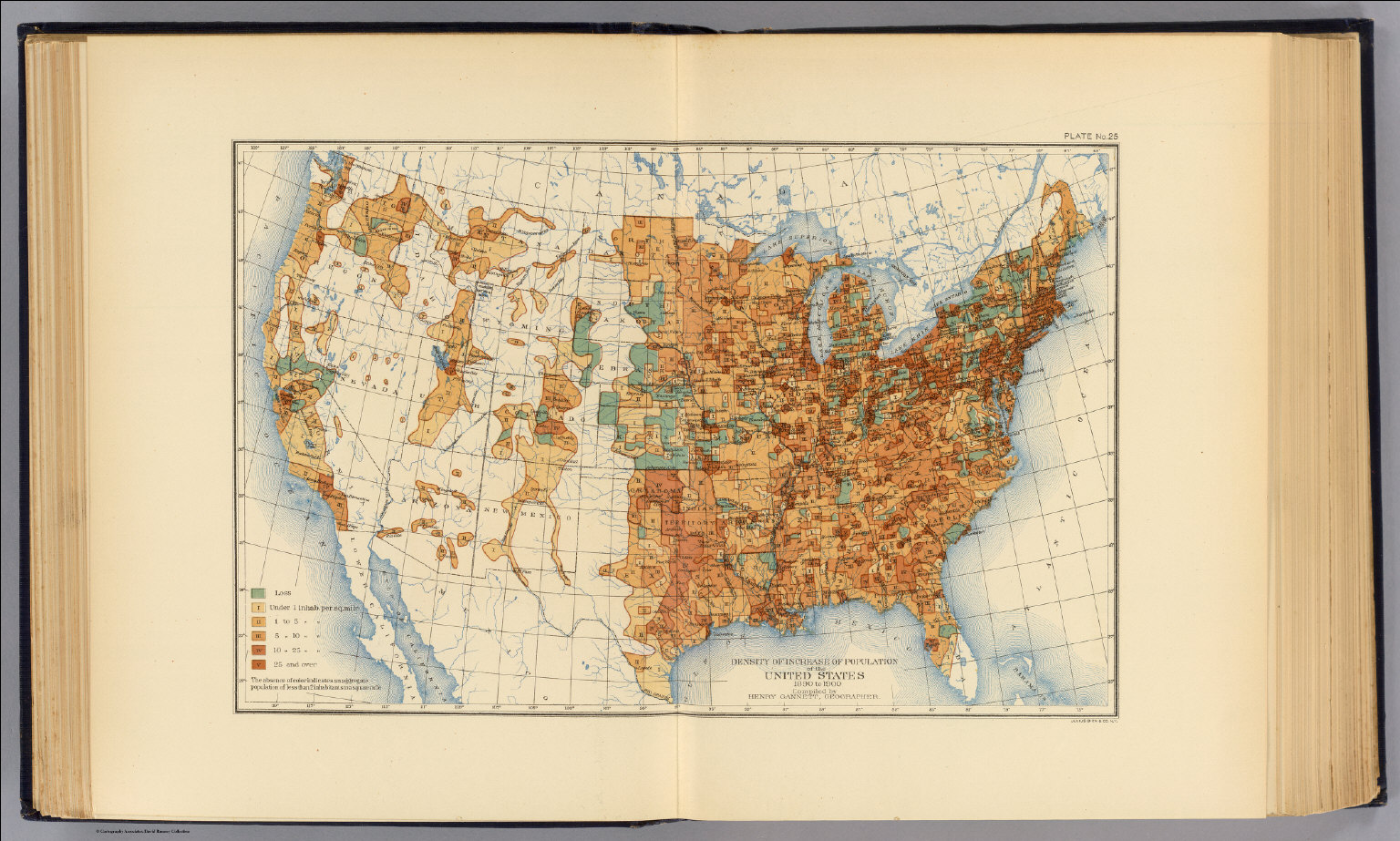 Density Of Increase Of Population US David - 1890 map of us