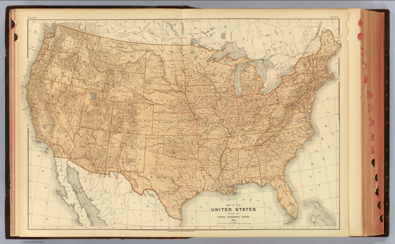 United States Topographical Features David Rumsey Historical - United states features