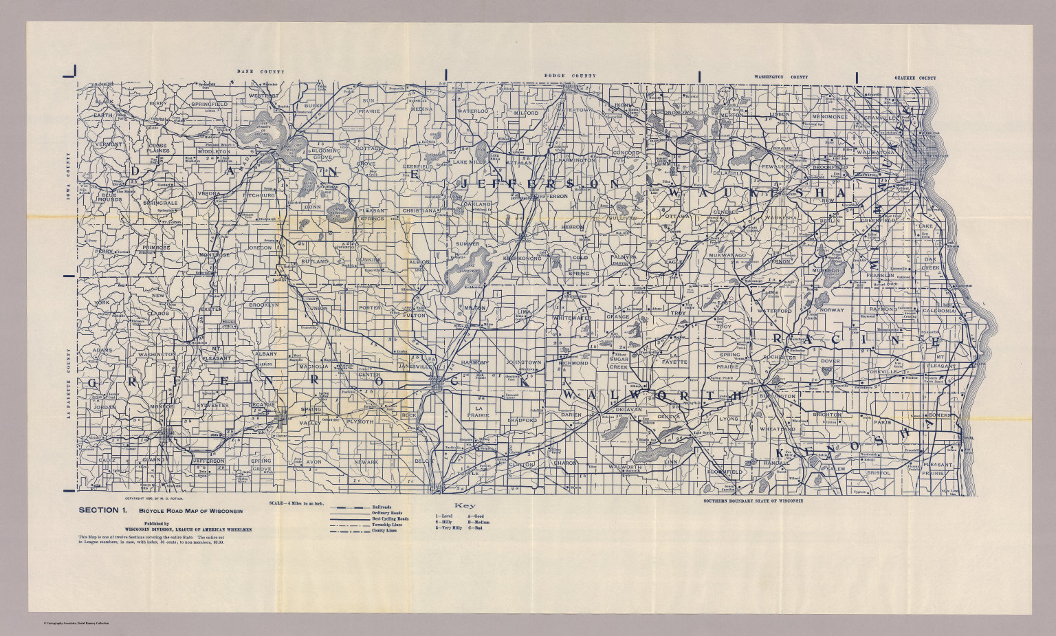 Section Bicycle Road Map Of Wisconsin David Rumsey - Road map of wisconsin