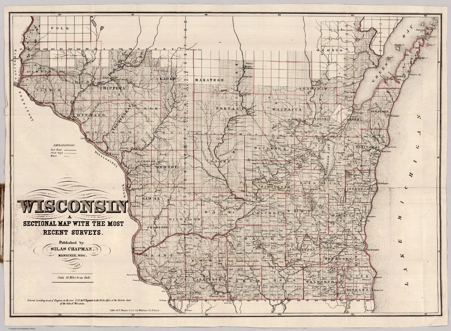 Sectional Map Of Wosconsin David Rumsey Historical Map Collection - Map of wisc