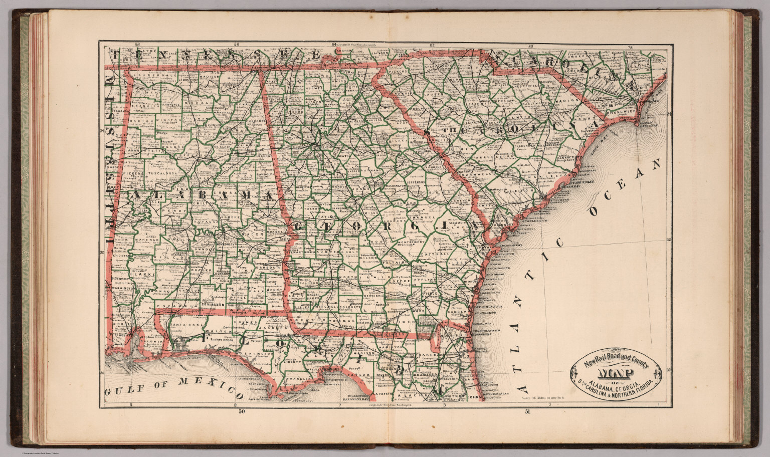 New Rail Road And County Map Of Alabama Georgia South Carolina - Road map of alabama