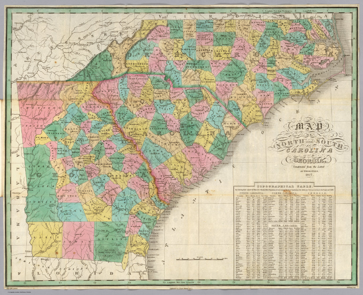North Carolina South Carolina Georgia David Rumsey Historical - Map of north ga
