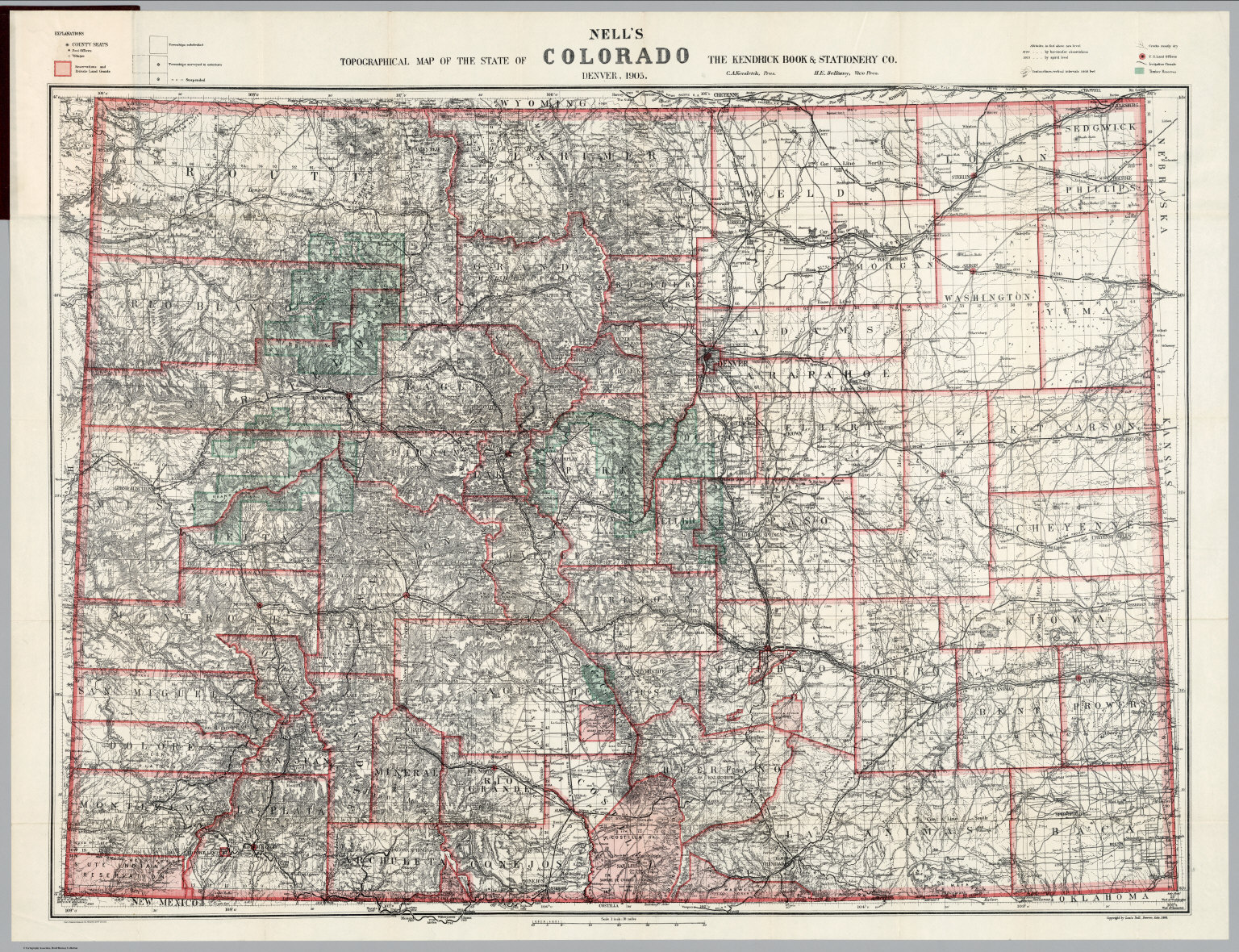 Topographical Map Of The State Of Colorado David Rumsey - Elevation map of colorado