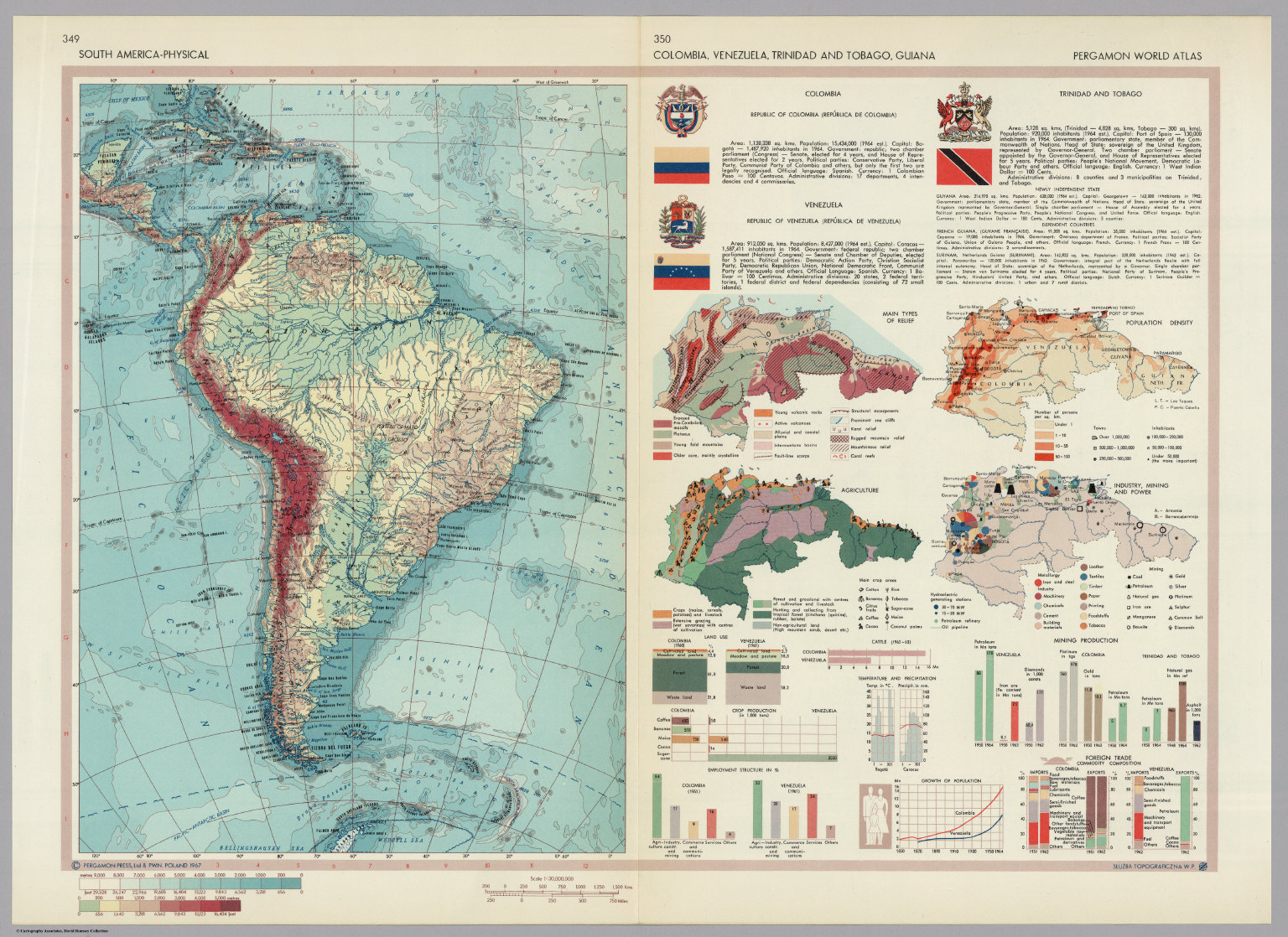 South America Physical Colombia Venezuela Trinidad And Tobago - Physical of map venezuela