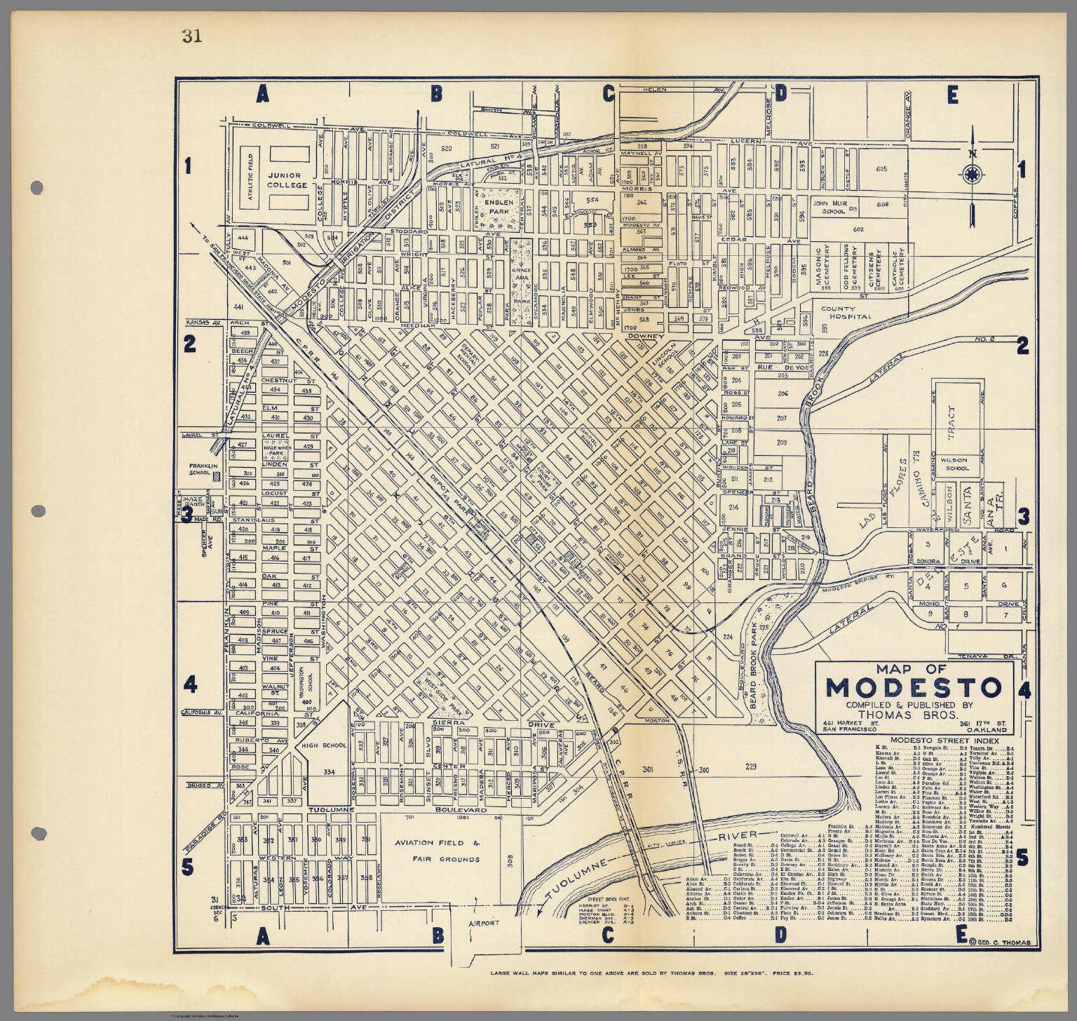 map of modesto california compiled  published by thomas bros. map of modesto california compiled  published by thomas bros