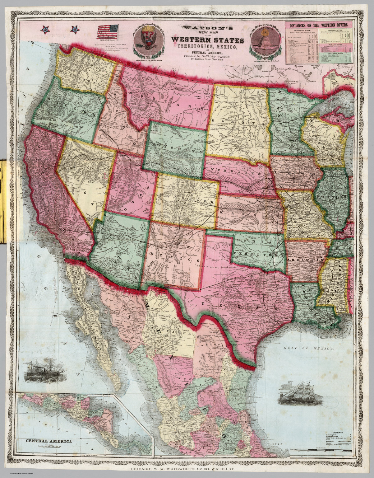 Western States Mexico Central America David Rumsey Historical - Map of central us states