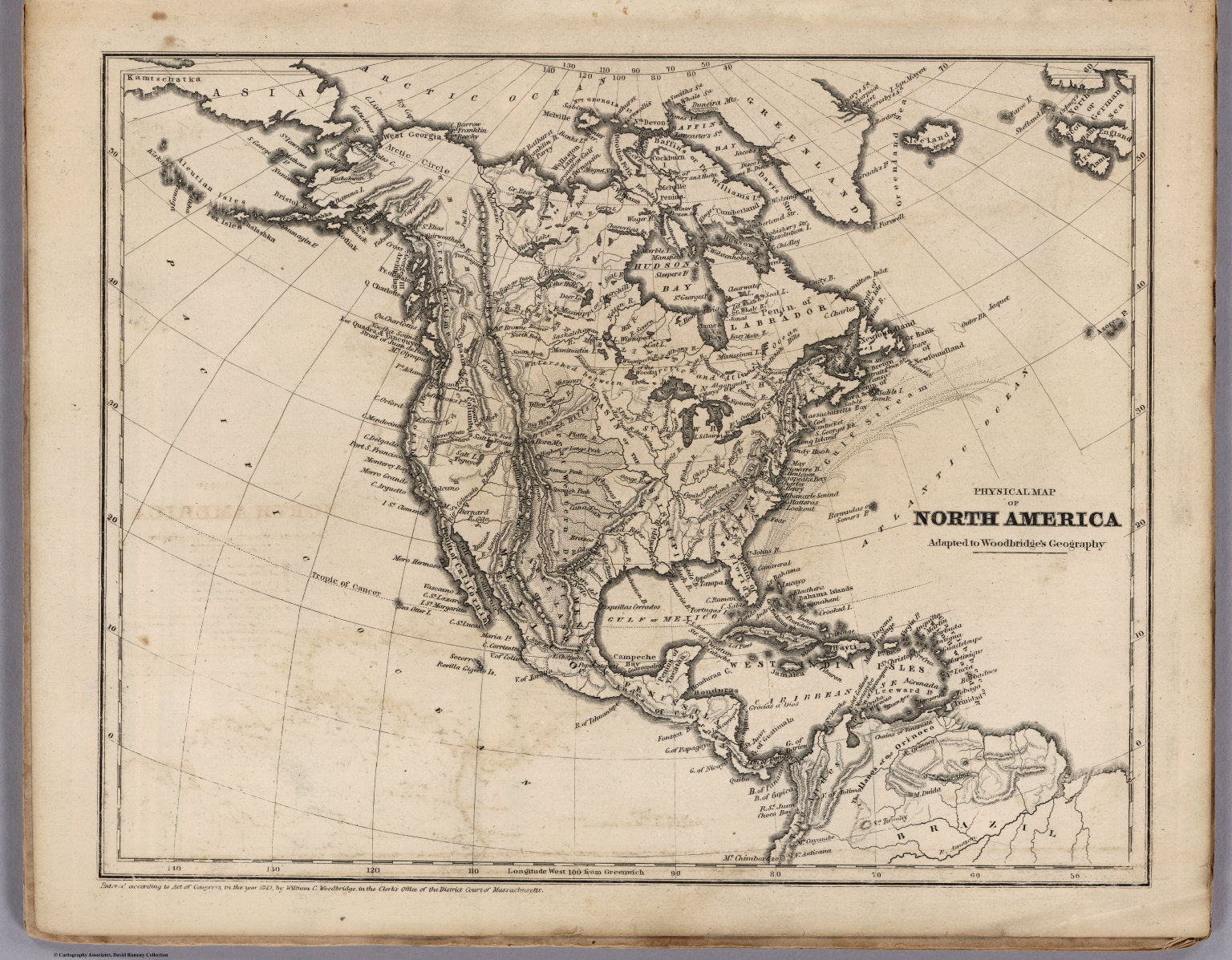 Physical Map Of North America David Rumsey Historical Map Collection - North america historical map 1845