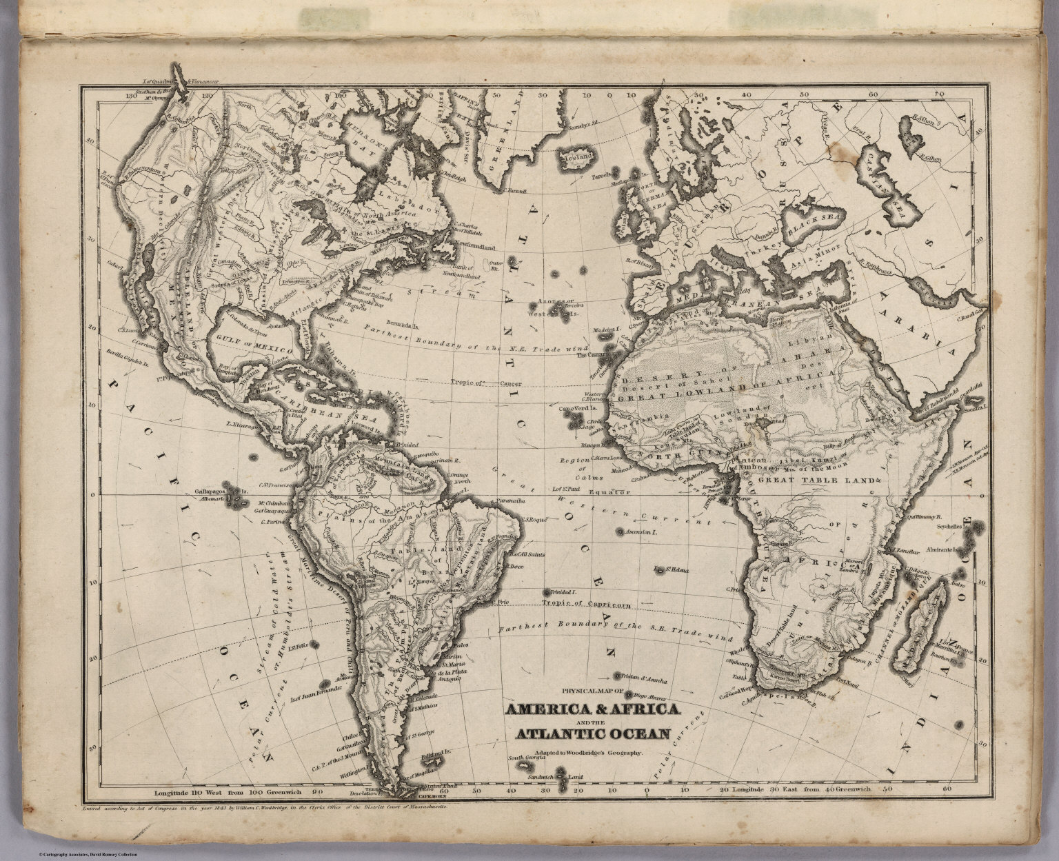 Physical Map America & Africa And The Atlantic Ocean David