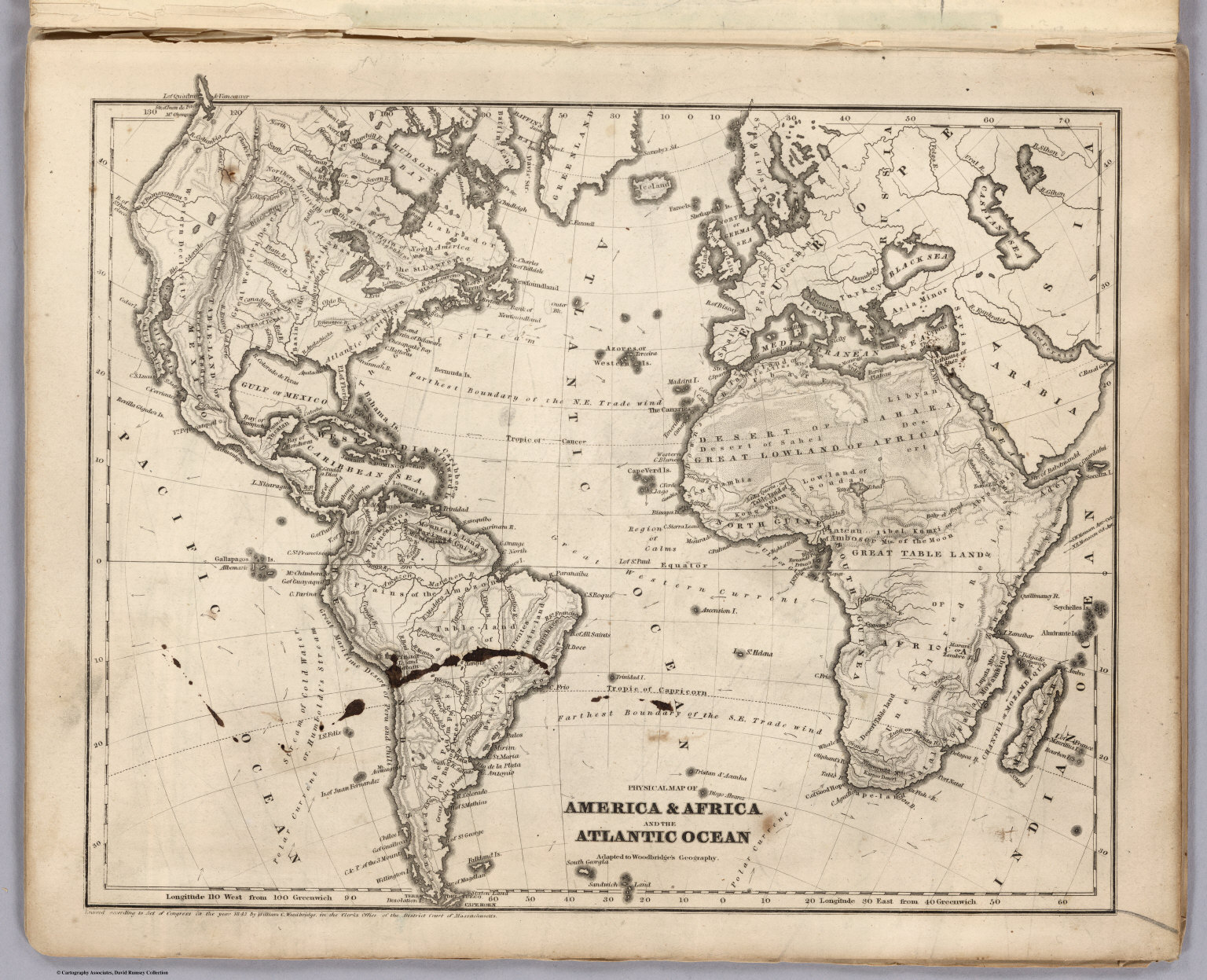 Physical Map Of America  Africa And the Atlantic Ocean  David