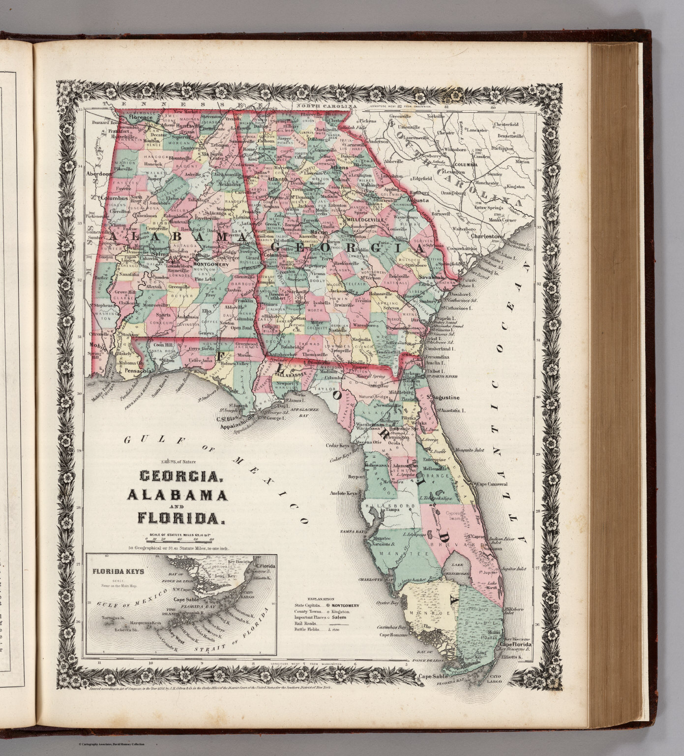 Georgia Alabama And Florida David Rumsey Historical Map - Map of alabama and florida
