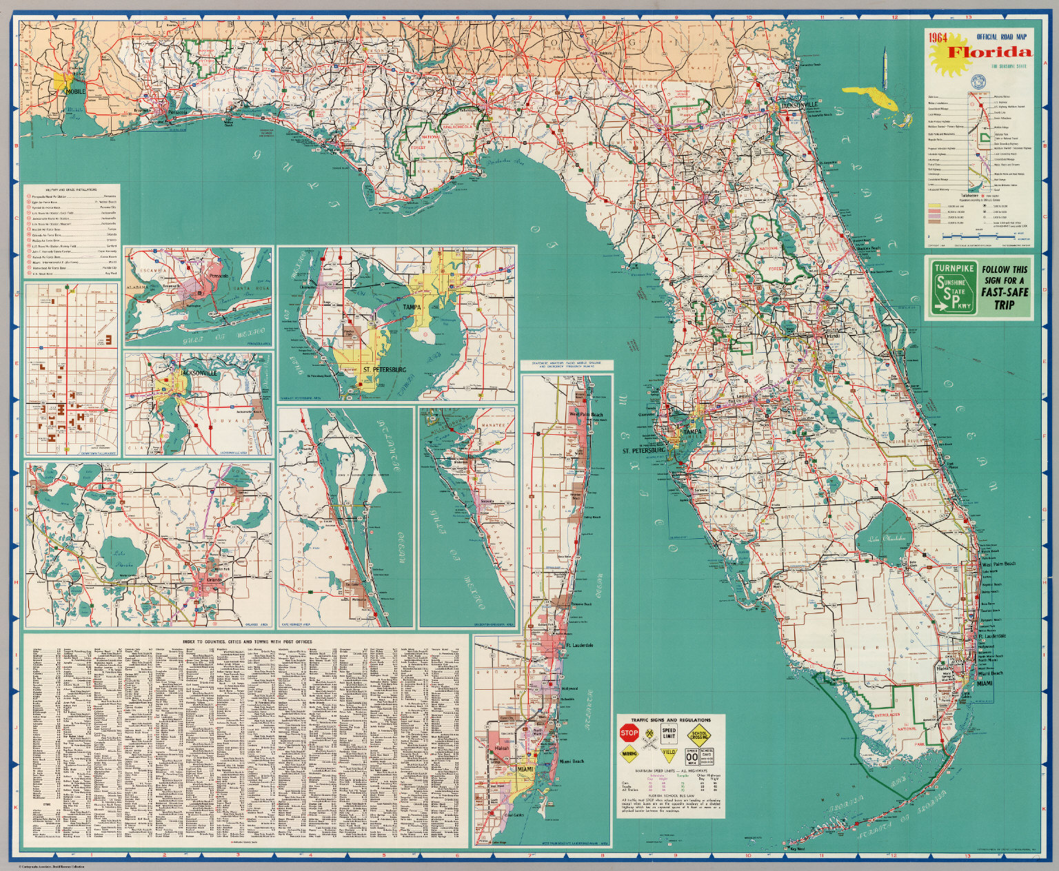 Official Road Map Florida The Sunshine State David Rumsey - Florida highway map